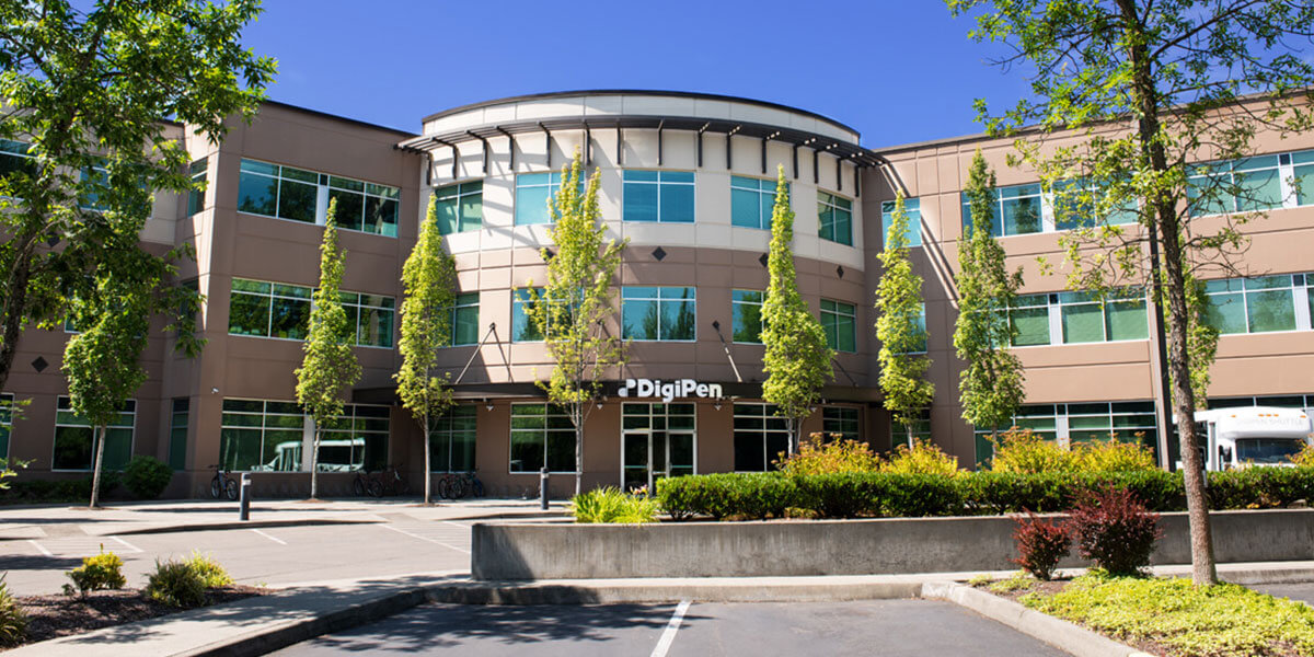 Photograph of the DigiPen USA building's main entrance taken at midday