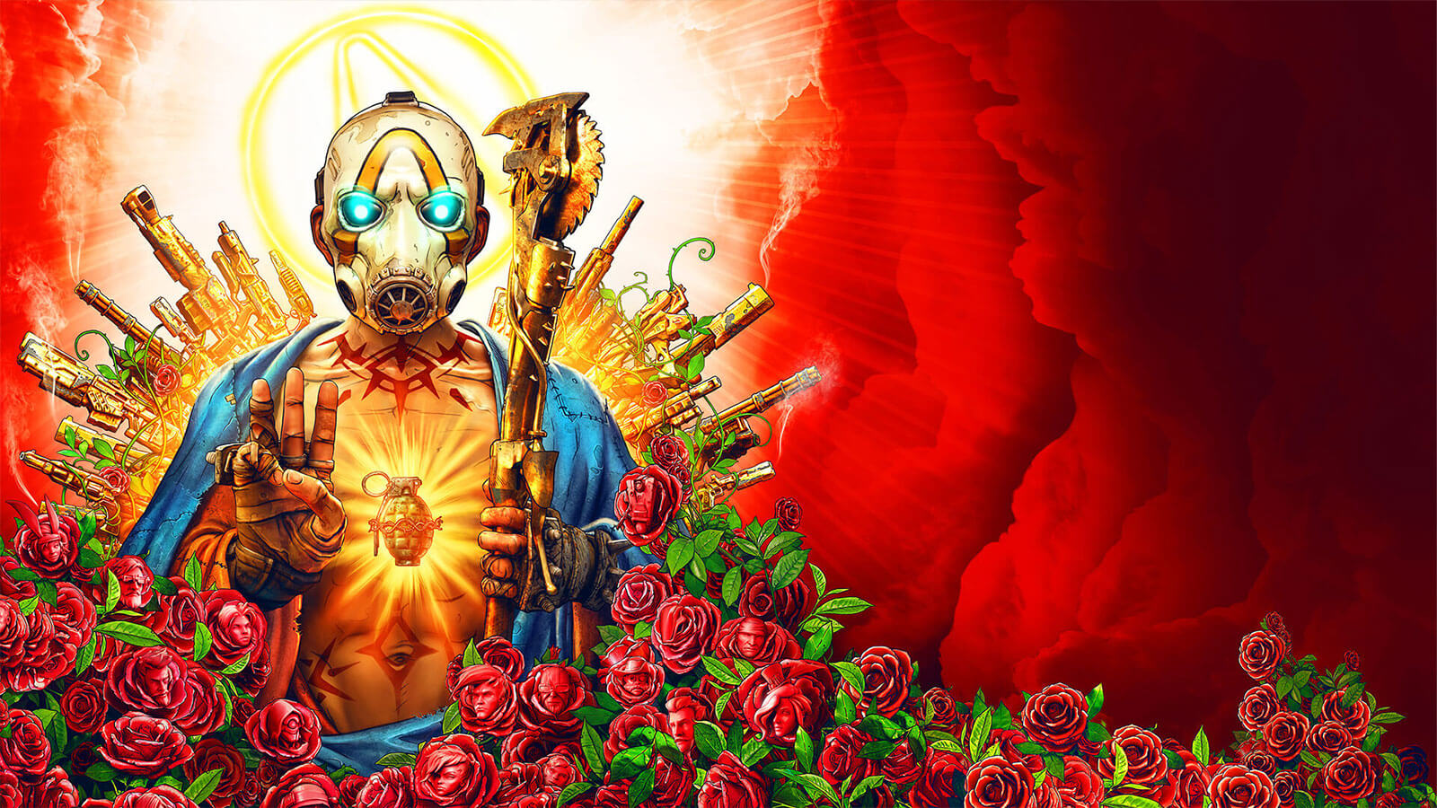 A man with glowing blue eyes and a hand grenade tattoo is surrounded by roses and guns in the style of a religious icon.