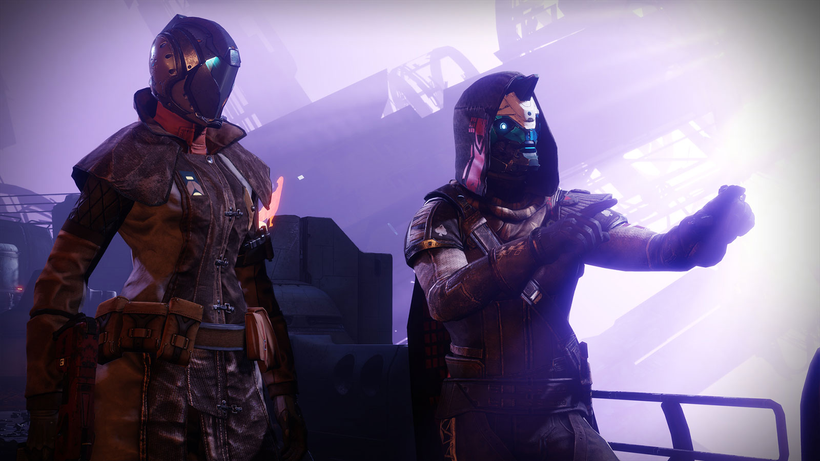 Two 3D-generated characters in futuristic masks and snug leather outfits stand in a brightly backlit industrial scene.