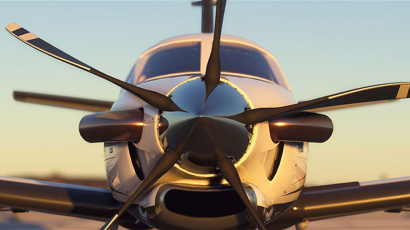 A screenshot from Microsoft Flight Simulator depicting a plane preparing for takeoff.