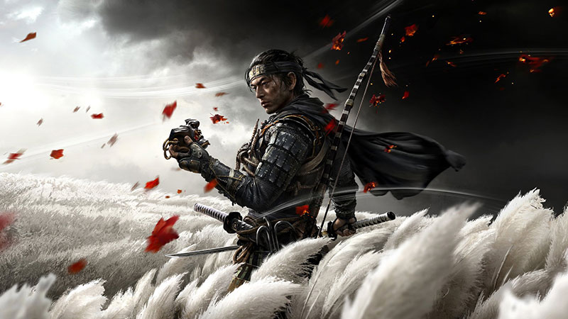 Ghost of Tsushima artwork: A samurai in a field holds a mask while leaves blow in the wind
