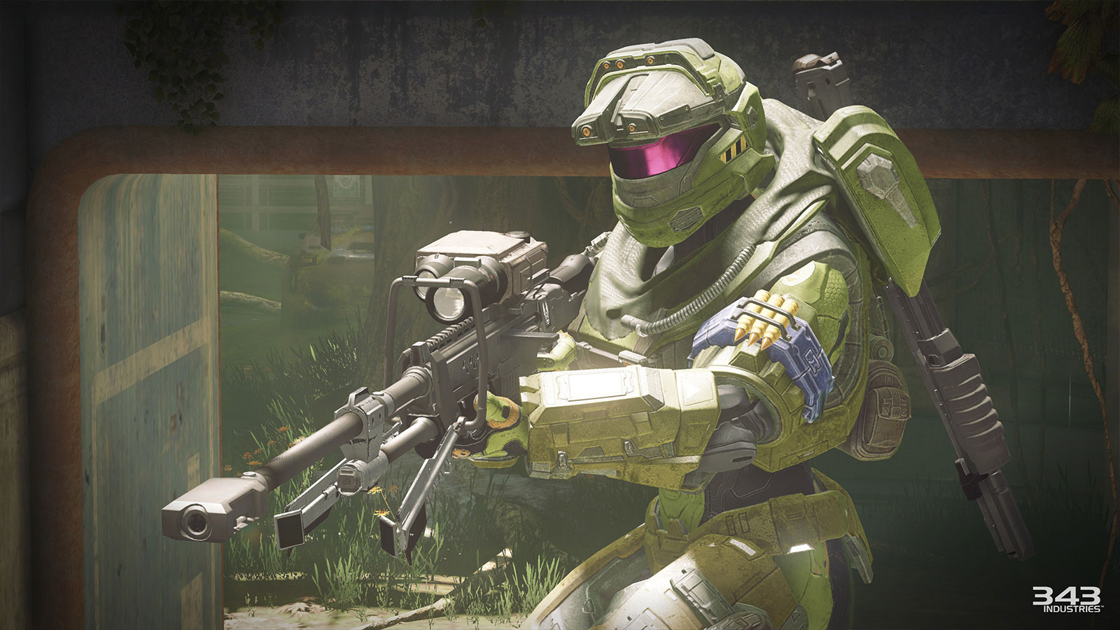 A 3D-generated character in futuristic green armor looks toward the left, crouching and holding a large, scoped rifle.