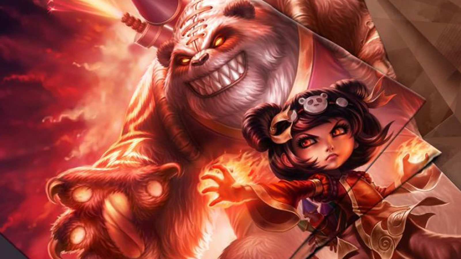 League of Legends character Annie and her giant pet bear menace an enemy against a fiery backdrop