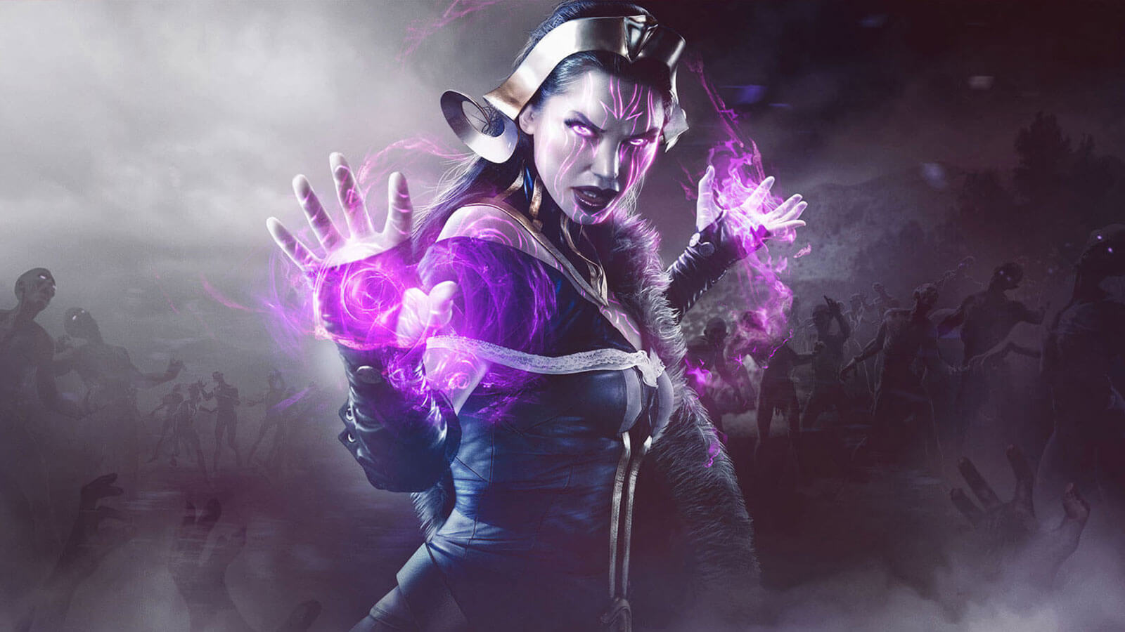 A dark, desaturated image of a necromancer surrounded by zombies as she summons magical, purple energy from her hands.