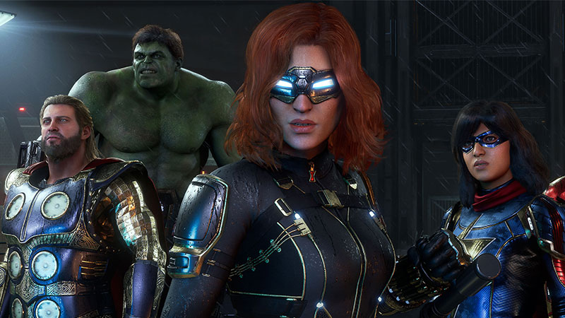 Thor, The Hulk, Black Widow, and Ms. Marvel stand side by side in a screenshot from Marvel's Avengers