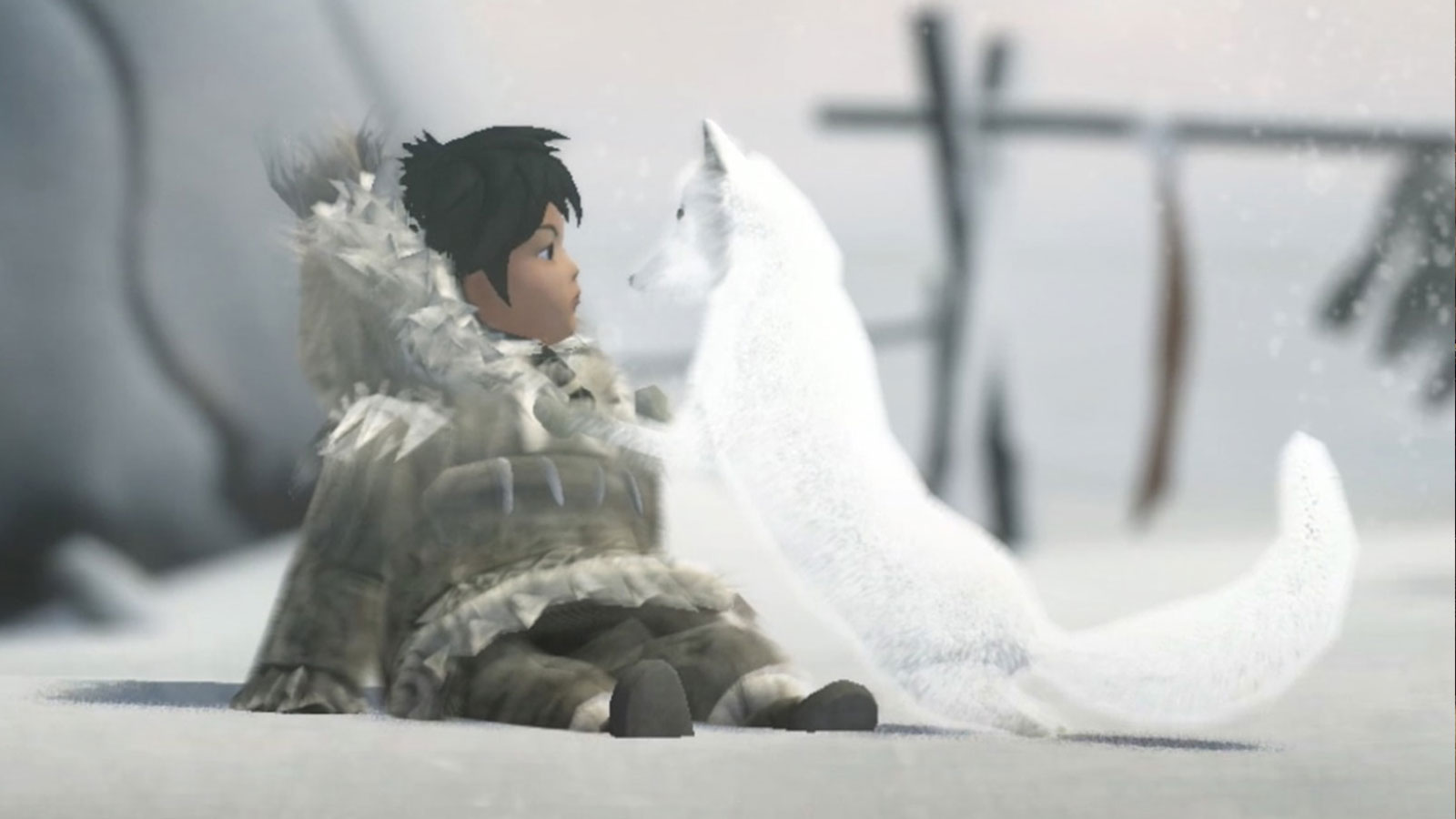 Screenshot from Never Alone of young villager Nuna and her arctic fox sitting in the snow