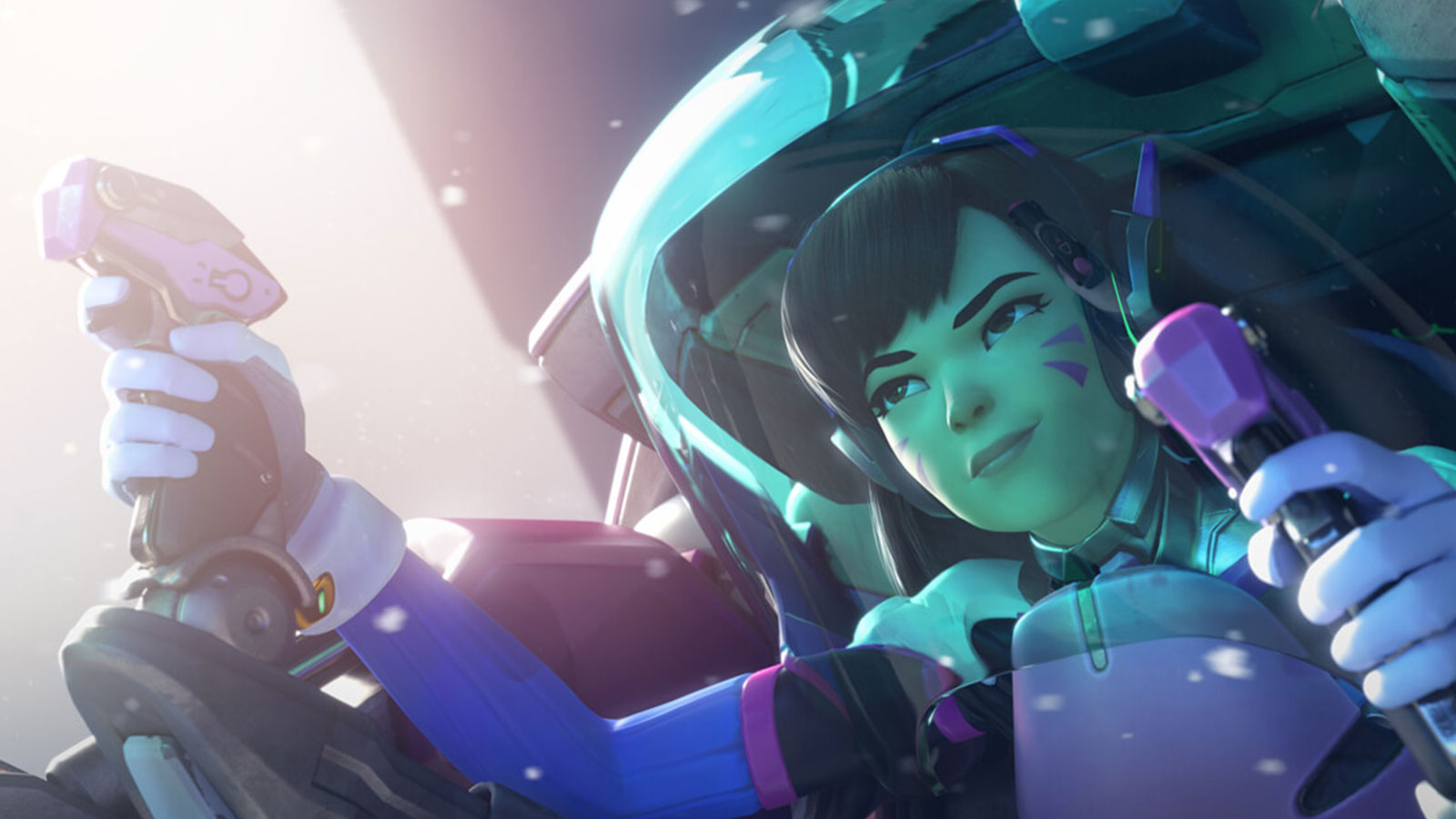 Screenshot of Overwatch character D.Va piloting her armored battle suit
