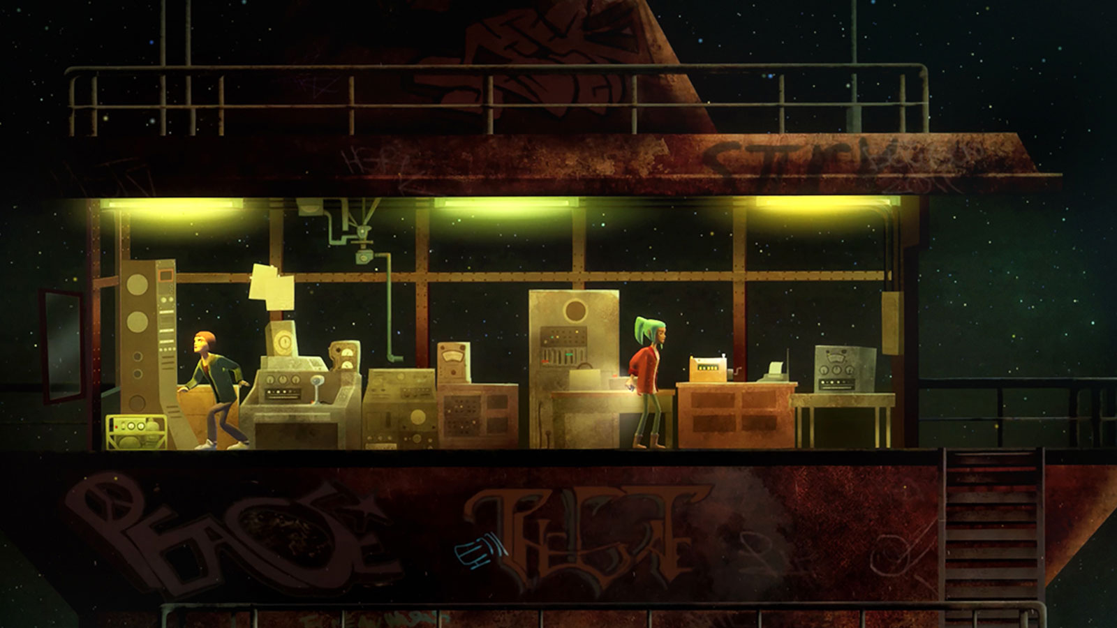 Screenshot of a game with two characters standing in a dimly lit, graffiti-covered control tower against a starry night sky.