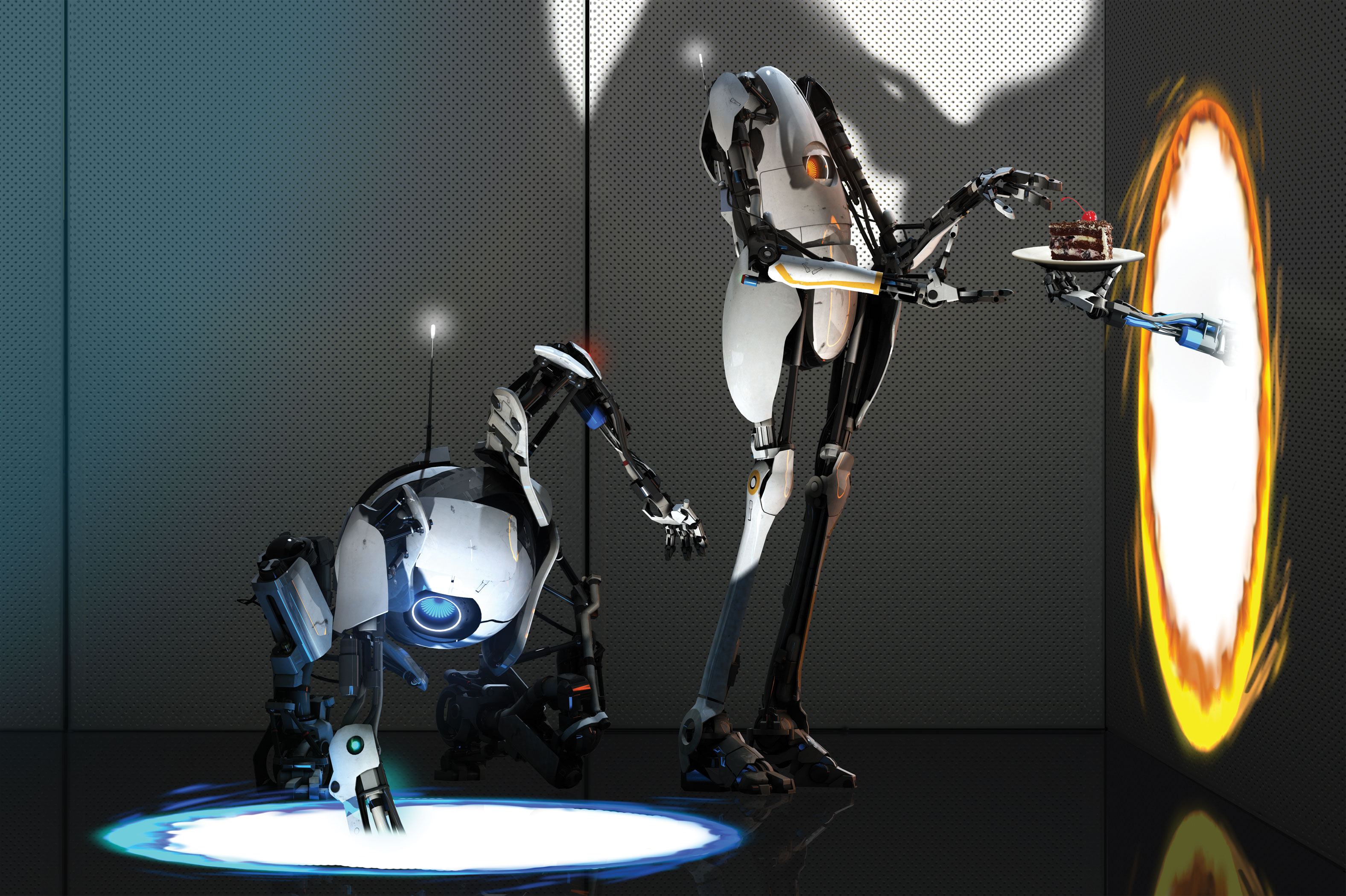 A kneeling robot sticks its arm into the ground while another stands nearby accepting a slice of cake from a disembodied hand