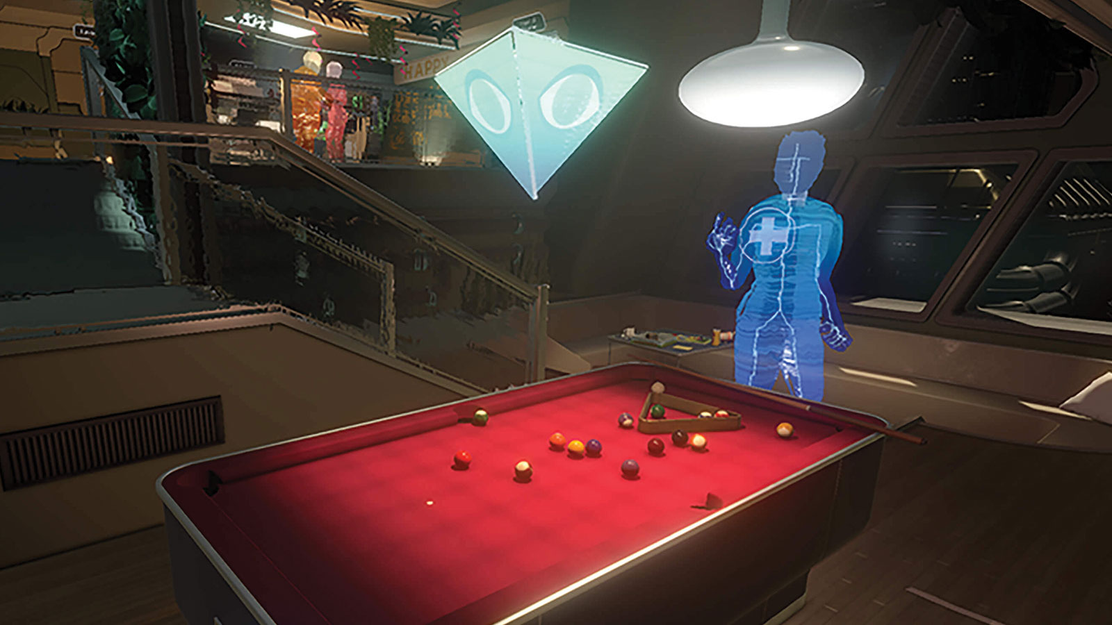 A faceless character plays pool in this screenshot from the Fullbright's Company's game Tacoma