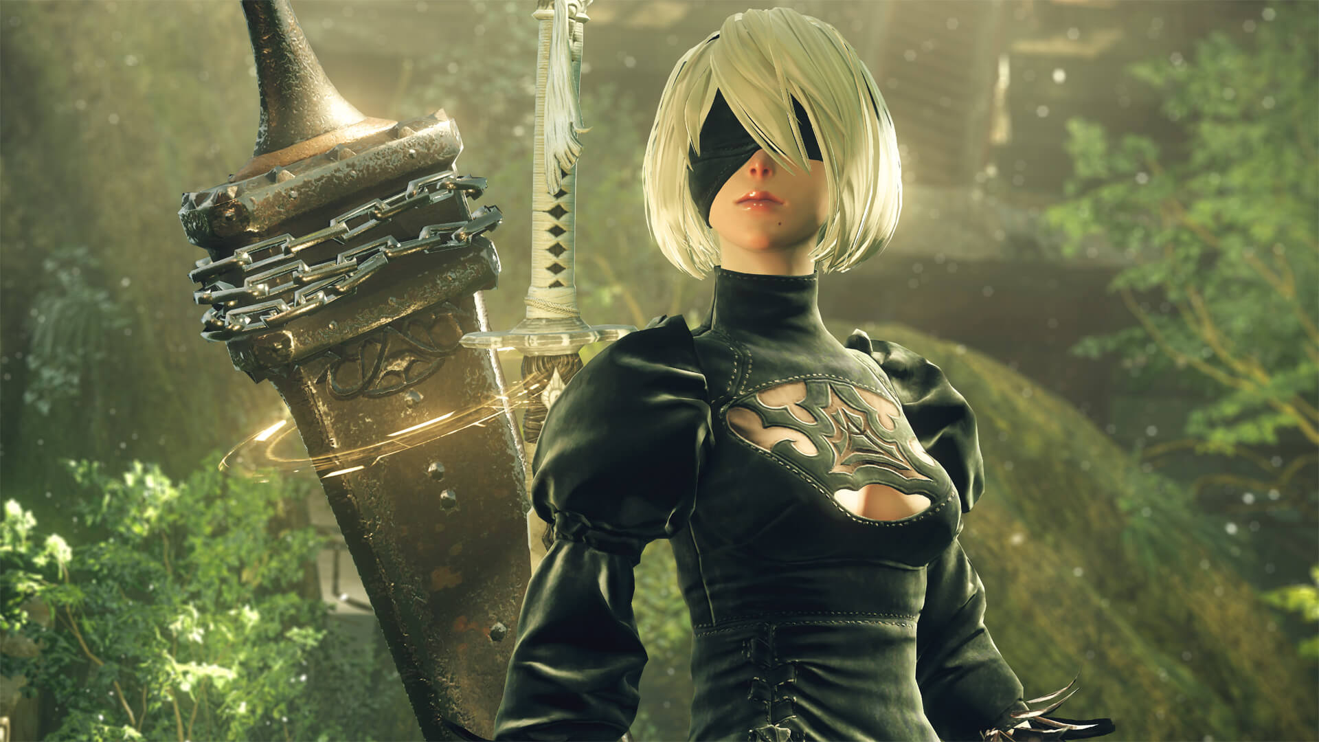Android woman with black blindfold and black dress with a large sword at her back, standing in a lush, green environment.