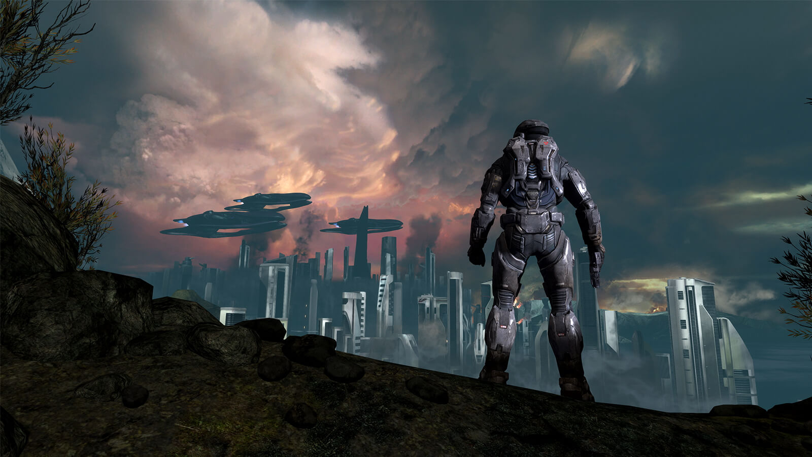 A futuristic soldier in full-body armor looks at a city in the distance.