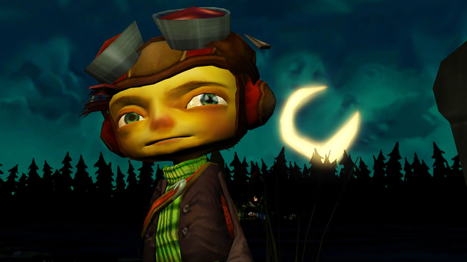 A character in stands in front of the woods with a crescent moon in the sky.