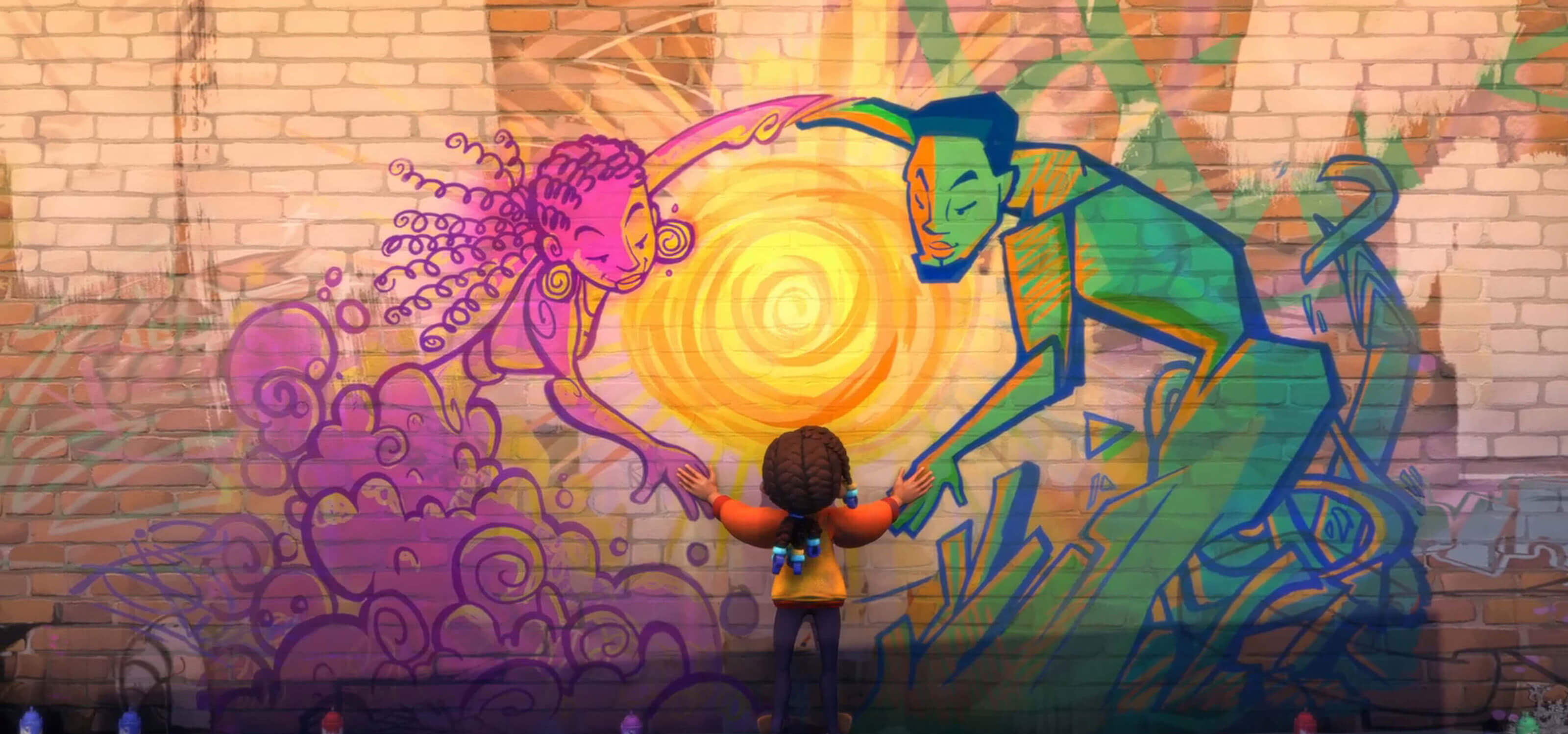 A girl facing a brick wall spray-painted with two figures, one pink, one green, holding hands around a bright sun.