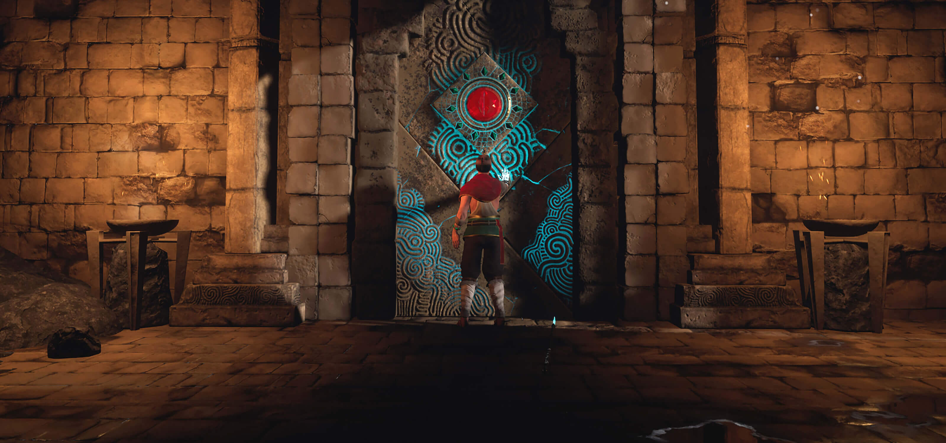 A man holds his palm against a glowing stone door.
