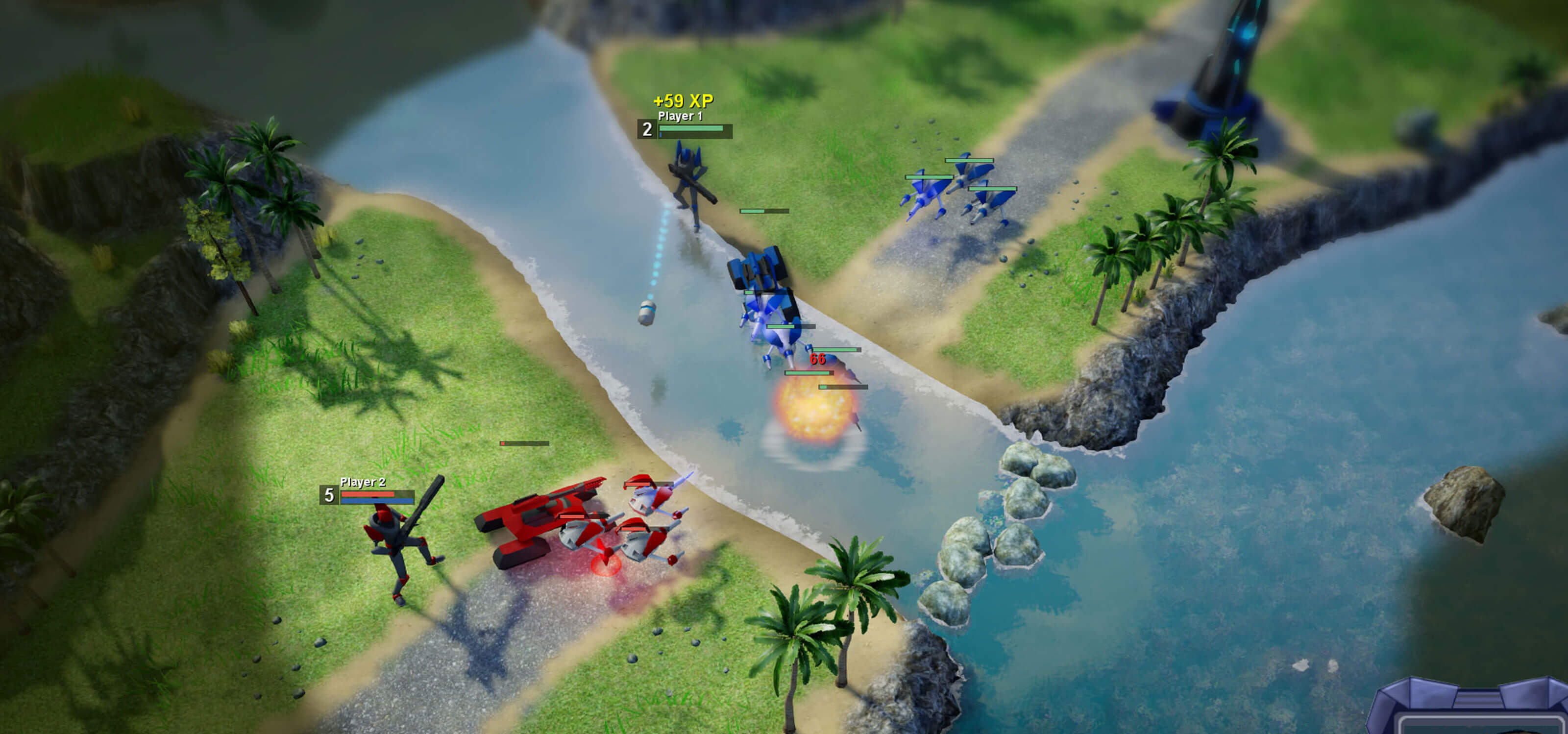 Blue and red robotic forces battle over a riverway.