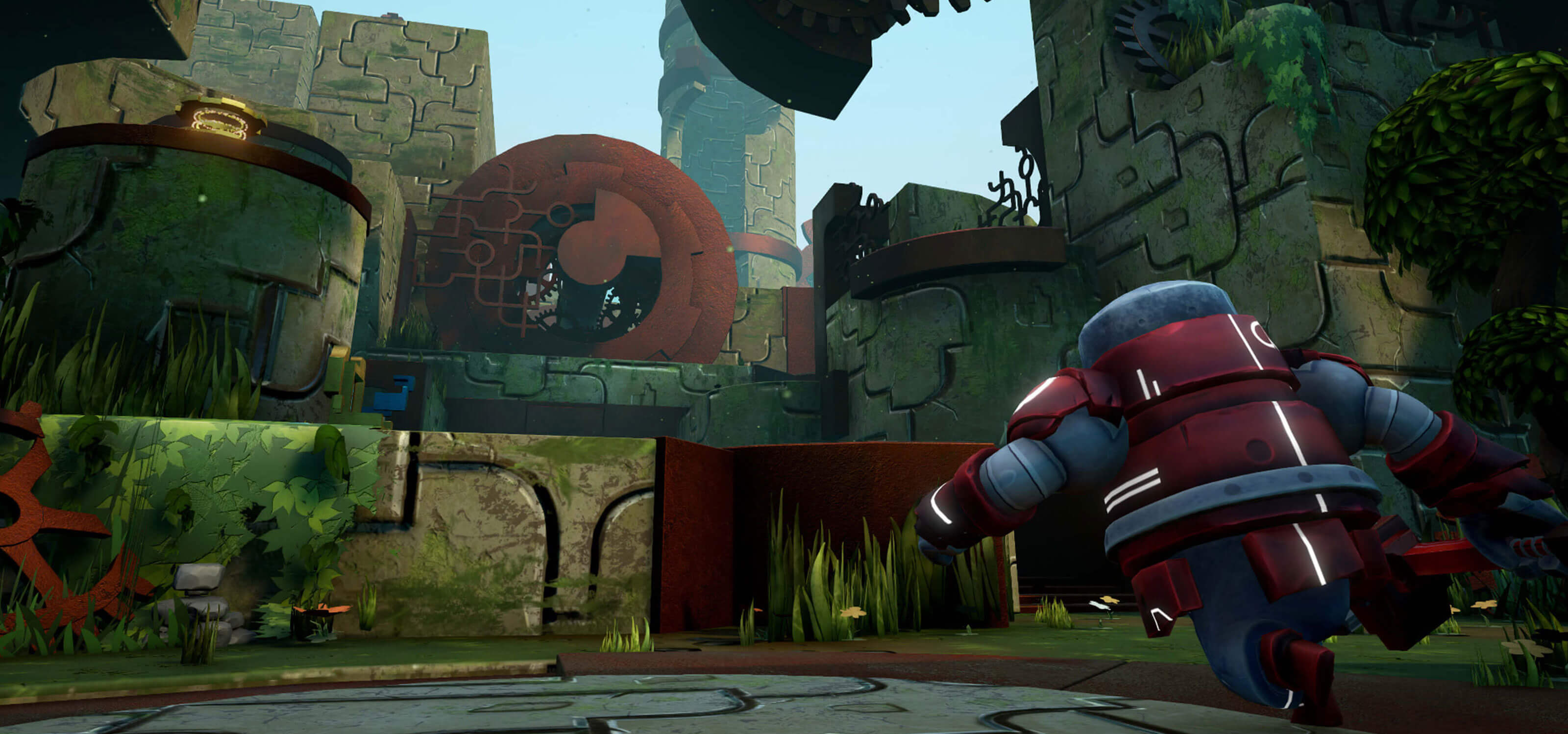 A red robot runs towards a stone structure overgrown with green foliage.