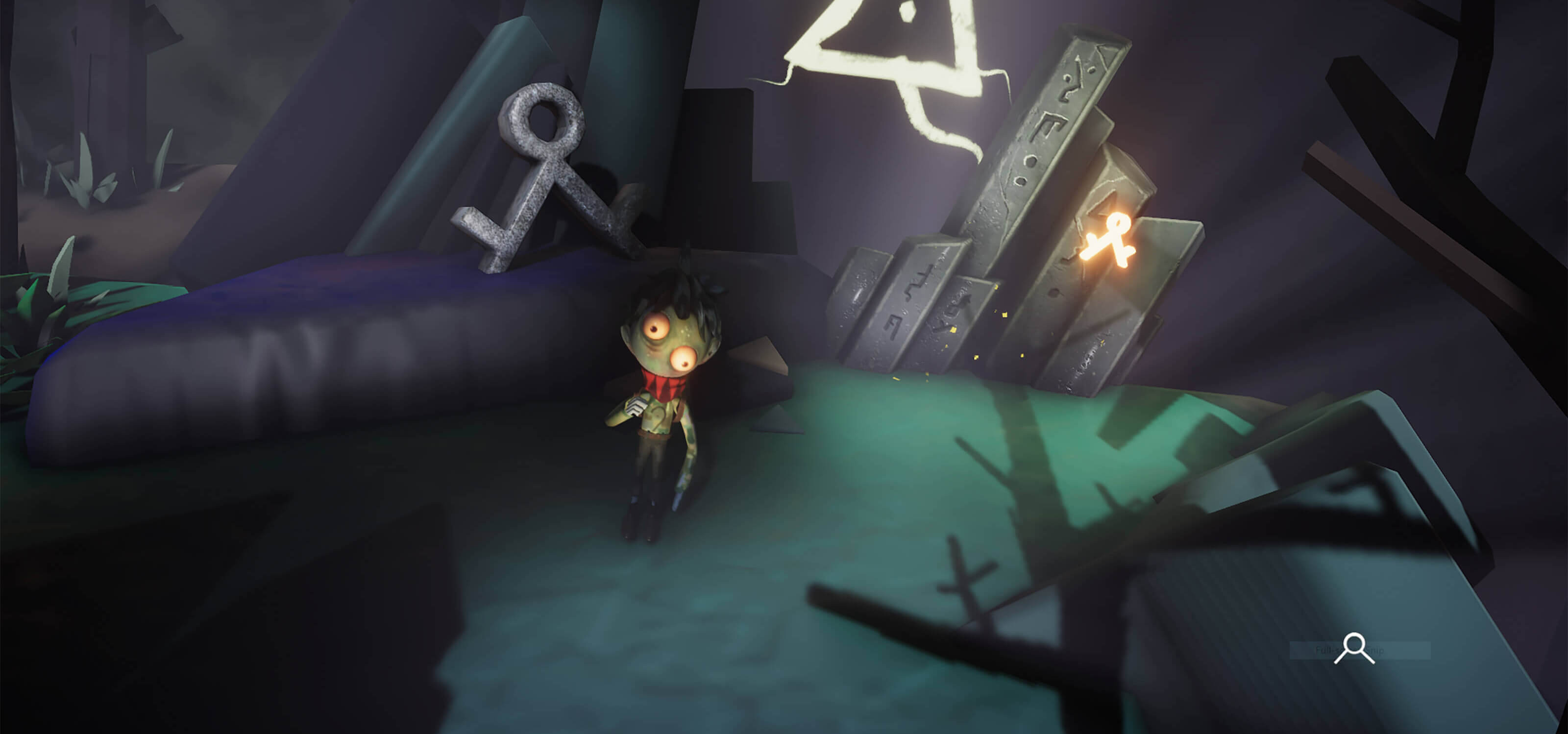 A blue skinned boy with lopsided eyes, stands next to runic shapes in an abstract forest.
