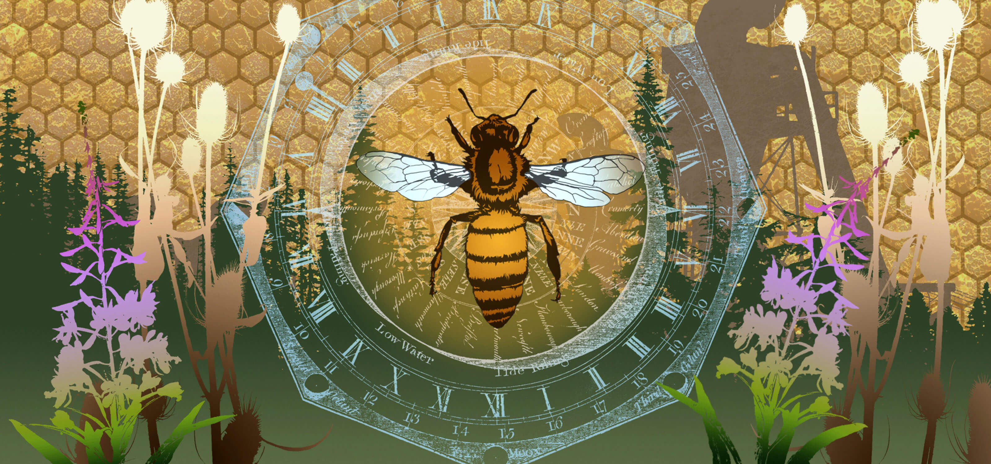 Digital composition of a bee and plants superimposed over a forest and honeycomb
