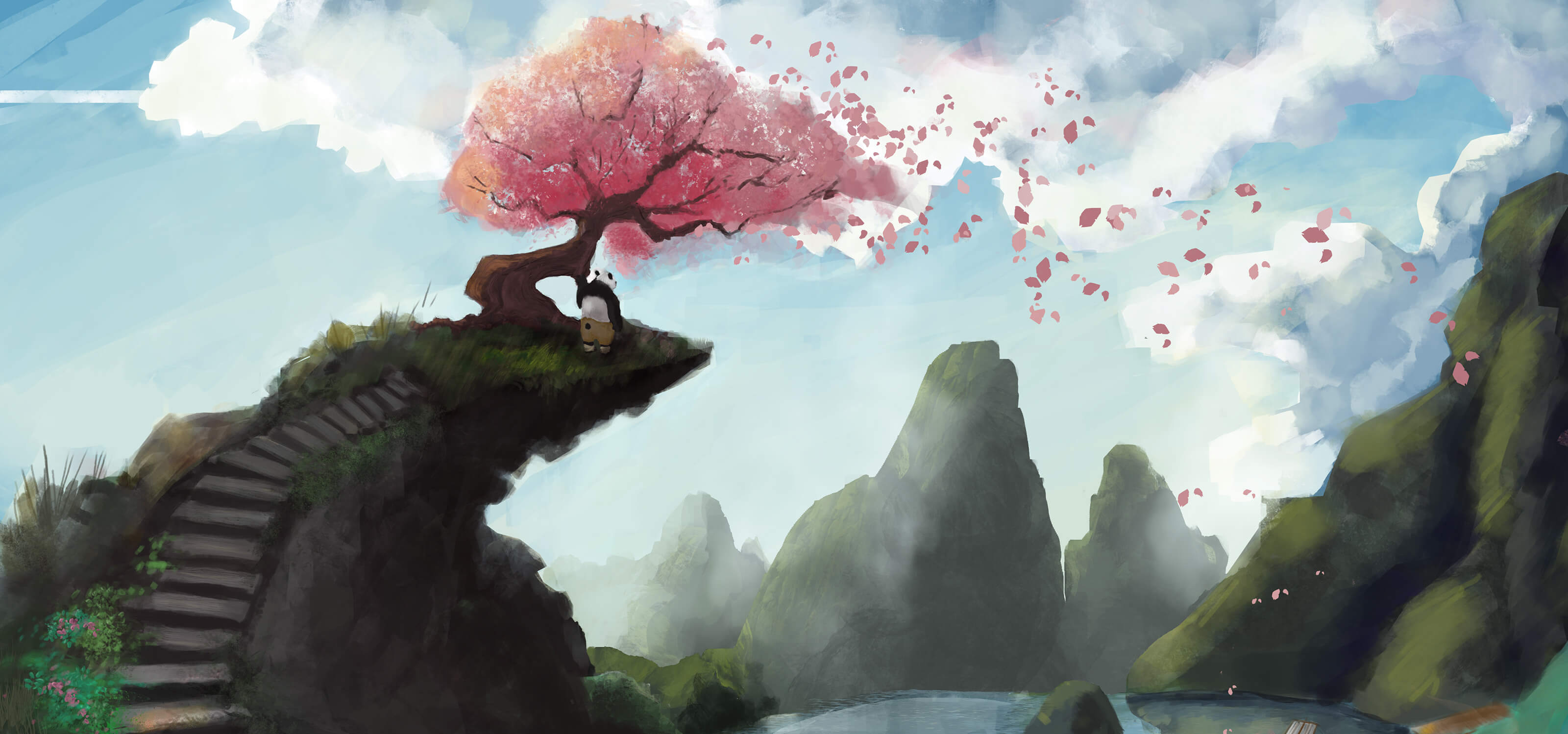 Digital painting of a panda standing on a cliff under a cherry tree overlooking a lake and mountains