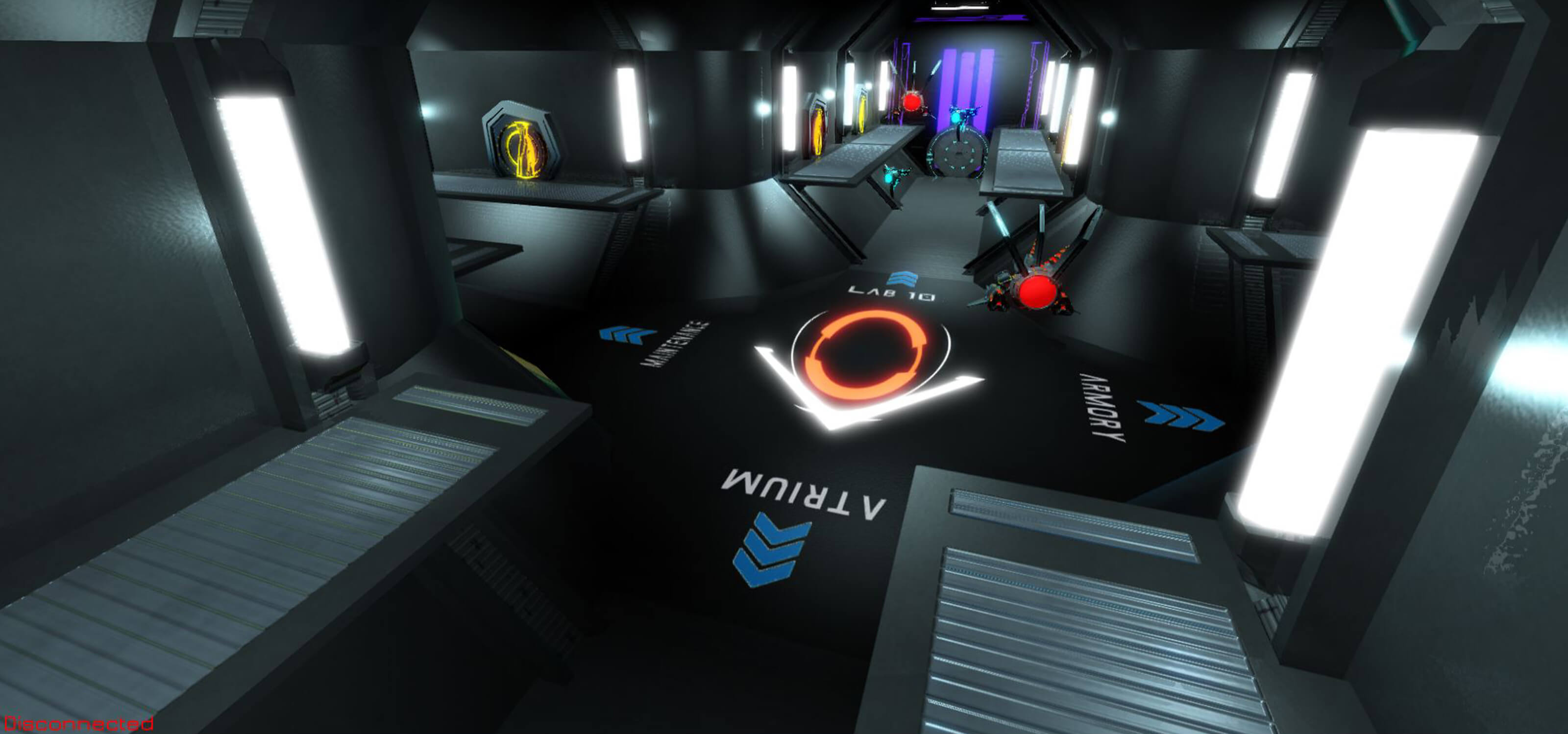 Screenshot from Chrono-Drive of directional signage on the floor of the research station