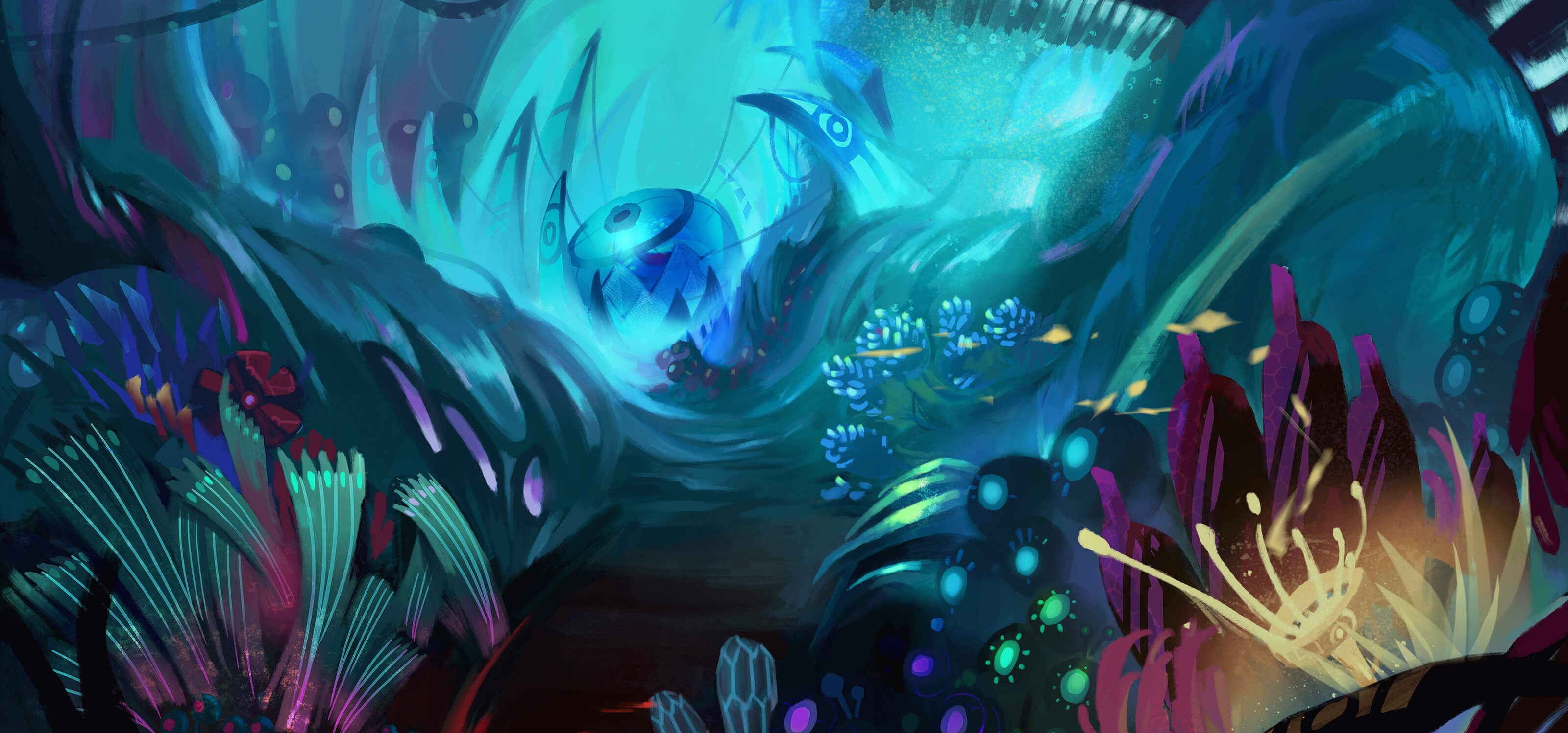 Digital painting of an underwater scene rendered in blues, greens, and purples