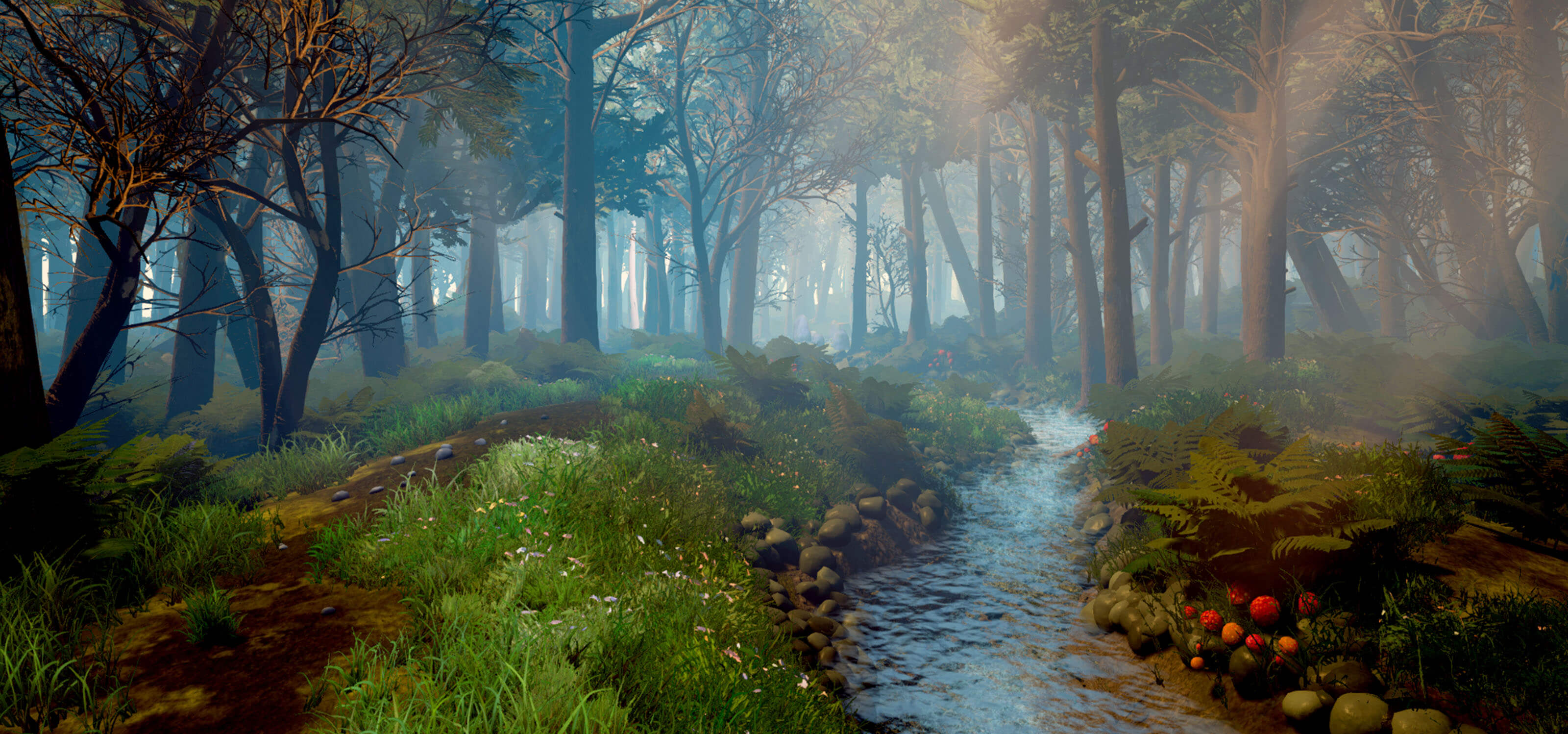 3D model of a stream deep in the forest with beams of sunlight