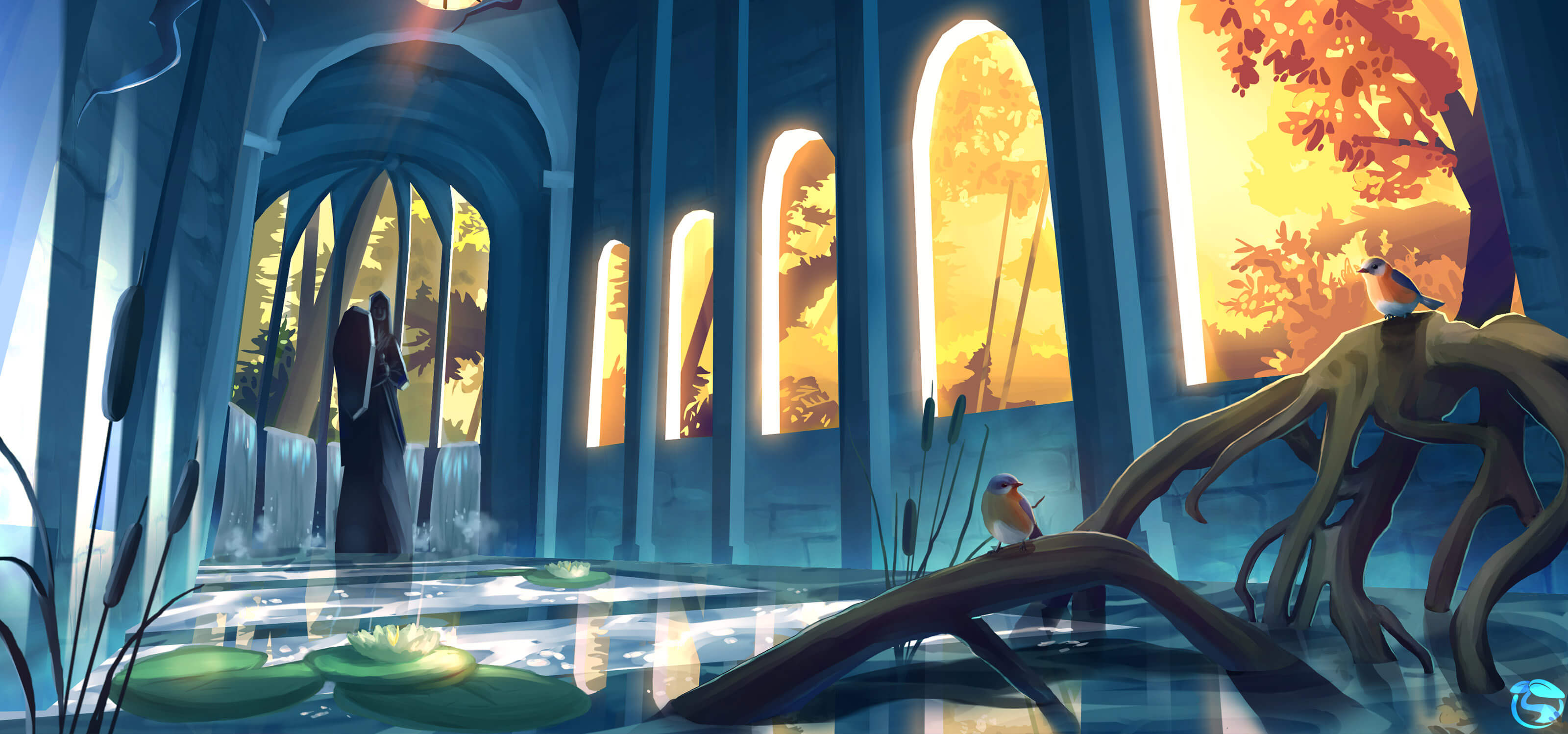 Digital painting of a statue in an open building at sunset, with a pond, lily pads and birds in the foreground