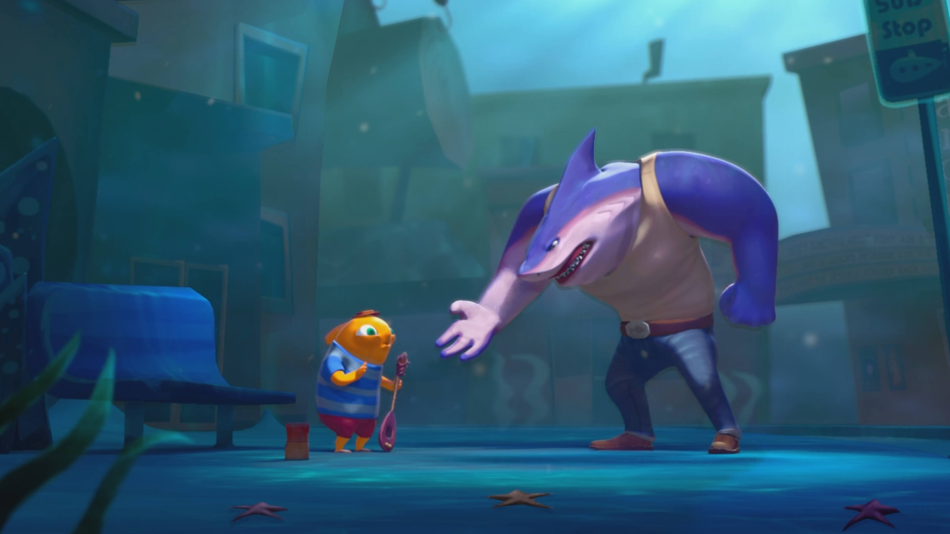 At a bus stop underwater, a large purple shark in jeans confronts a smaller orange fish in a striped t-shirt holding a banjo
