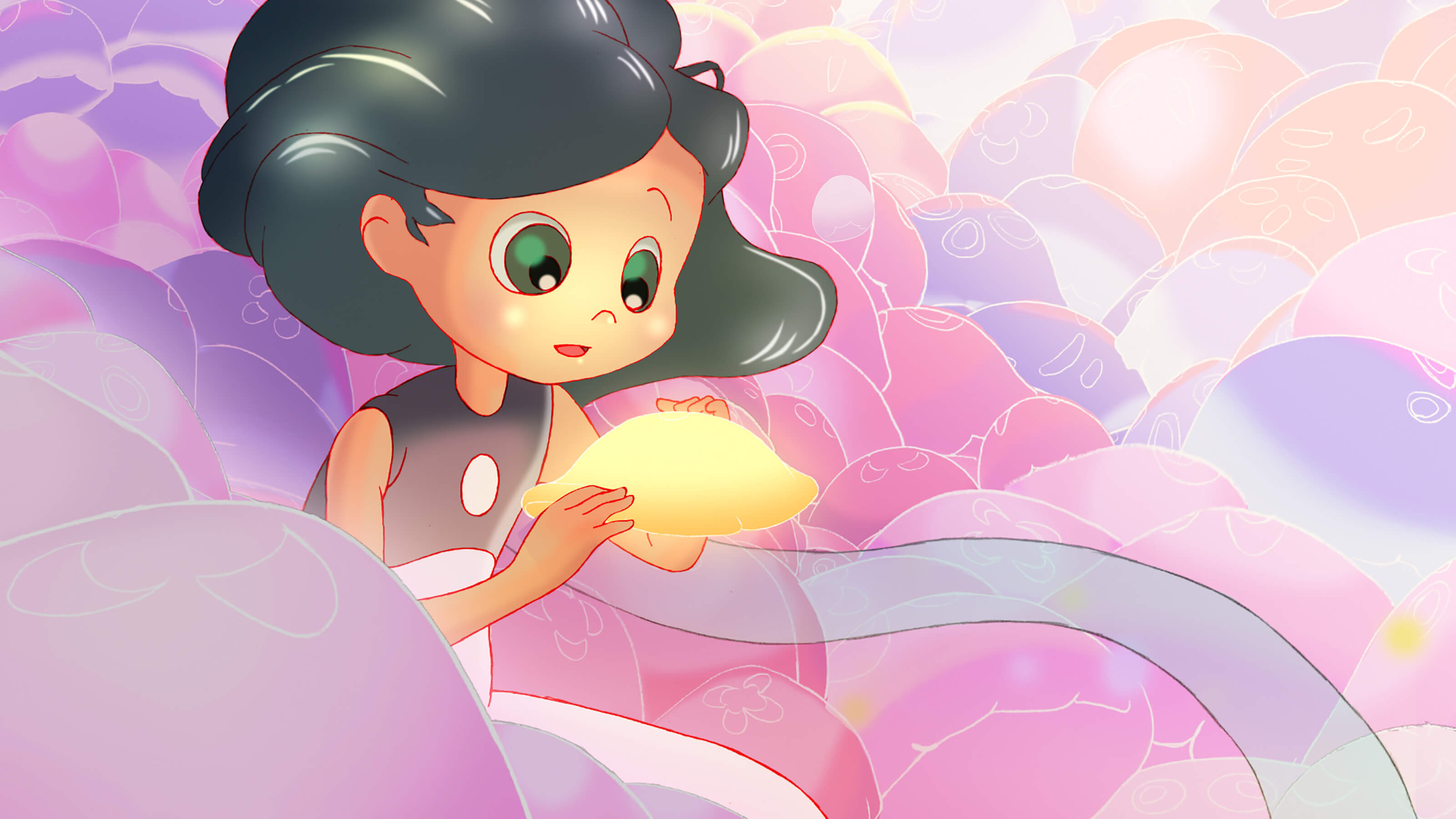 A girl with black hair and green eyes holds a yellow jellyfish in her hands, surrounded by pink, purple, and orange jellyfish