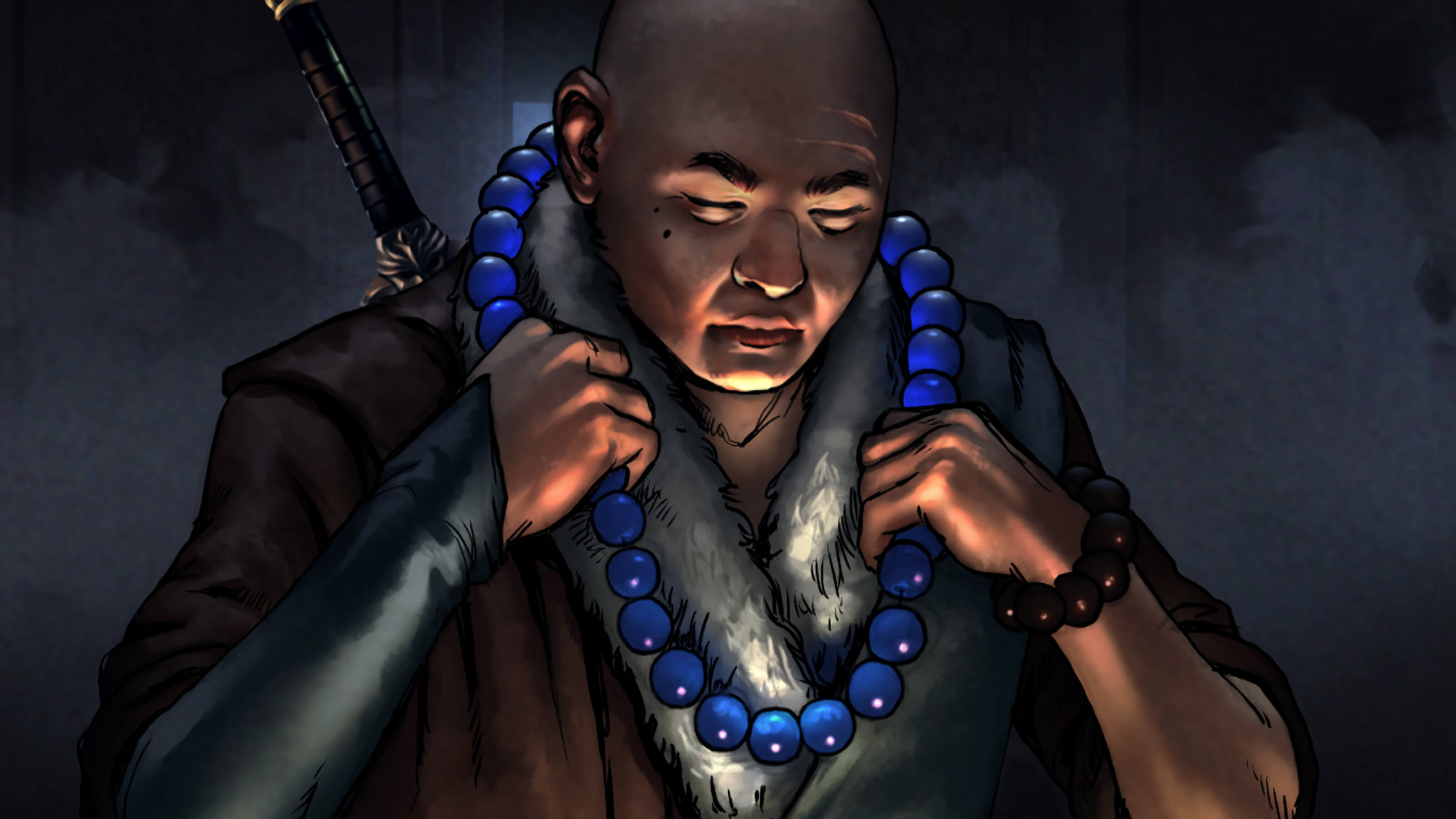 A bald man with a sword on his back, lit from below, puts on a necklace of brilliant blue spheres in a darkened room