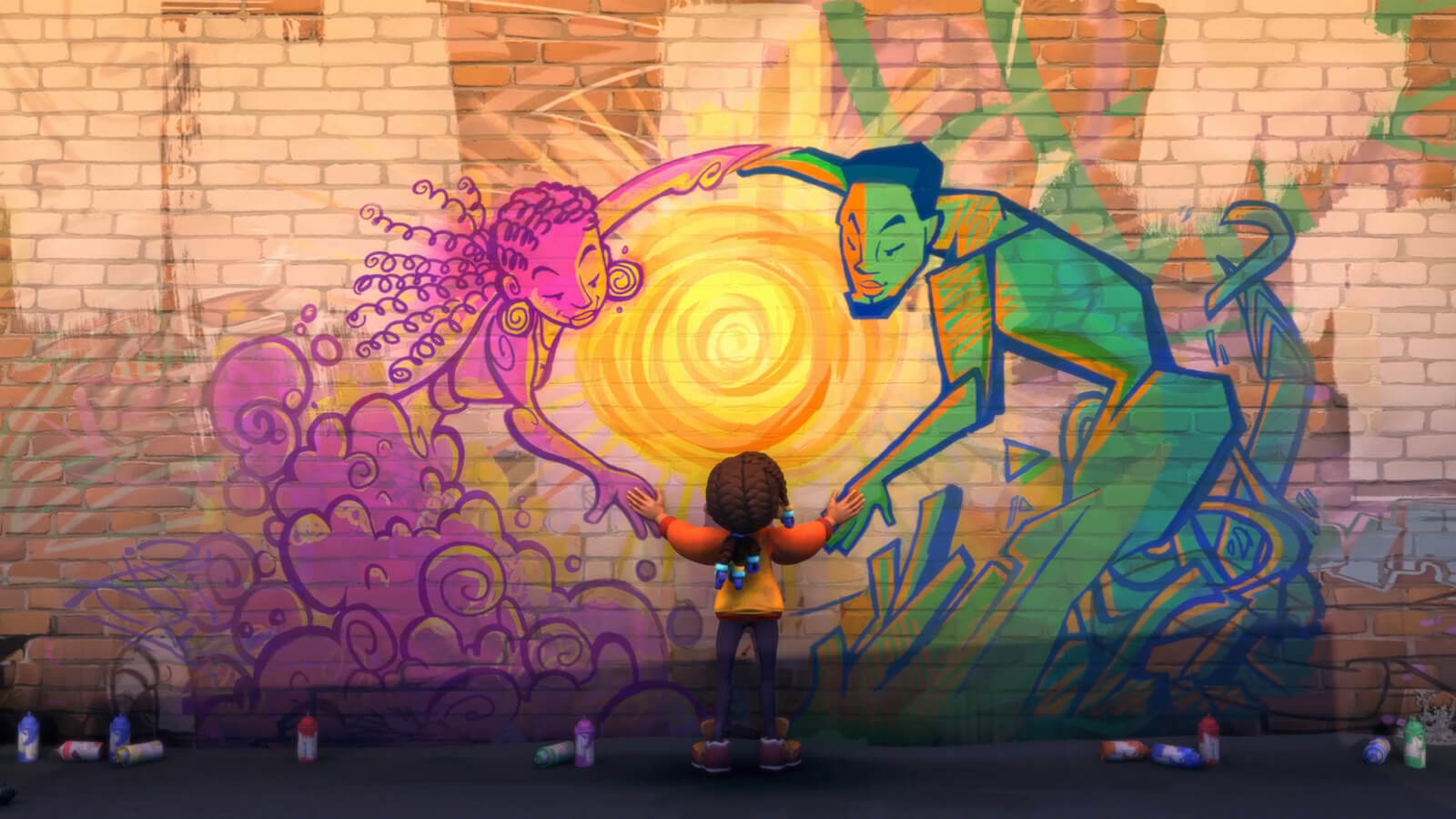 A girl facing a brick wall spray-painted with two figures, one pink, one green, holding hands around a bright sun