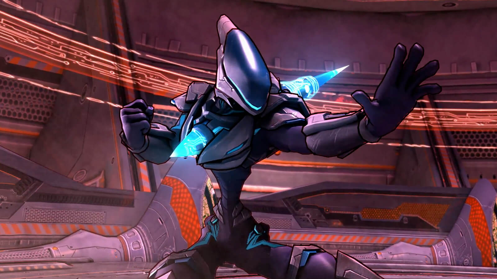 A blue and purple robot with glowing blue cones coming out of its chest and back stands poses in an orange-tinged room