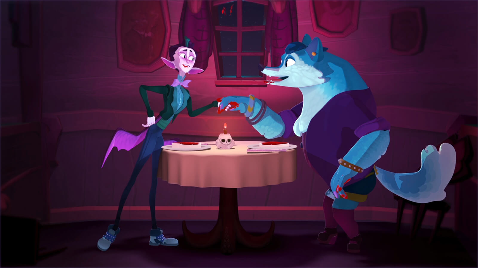 A pink vampire in a suit holds hands with a blue werewolf over a dinner table with two steaks and a lit candle inside a skull