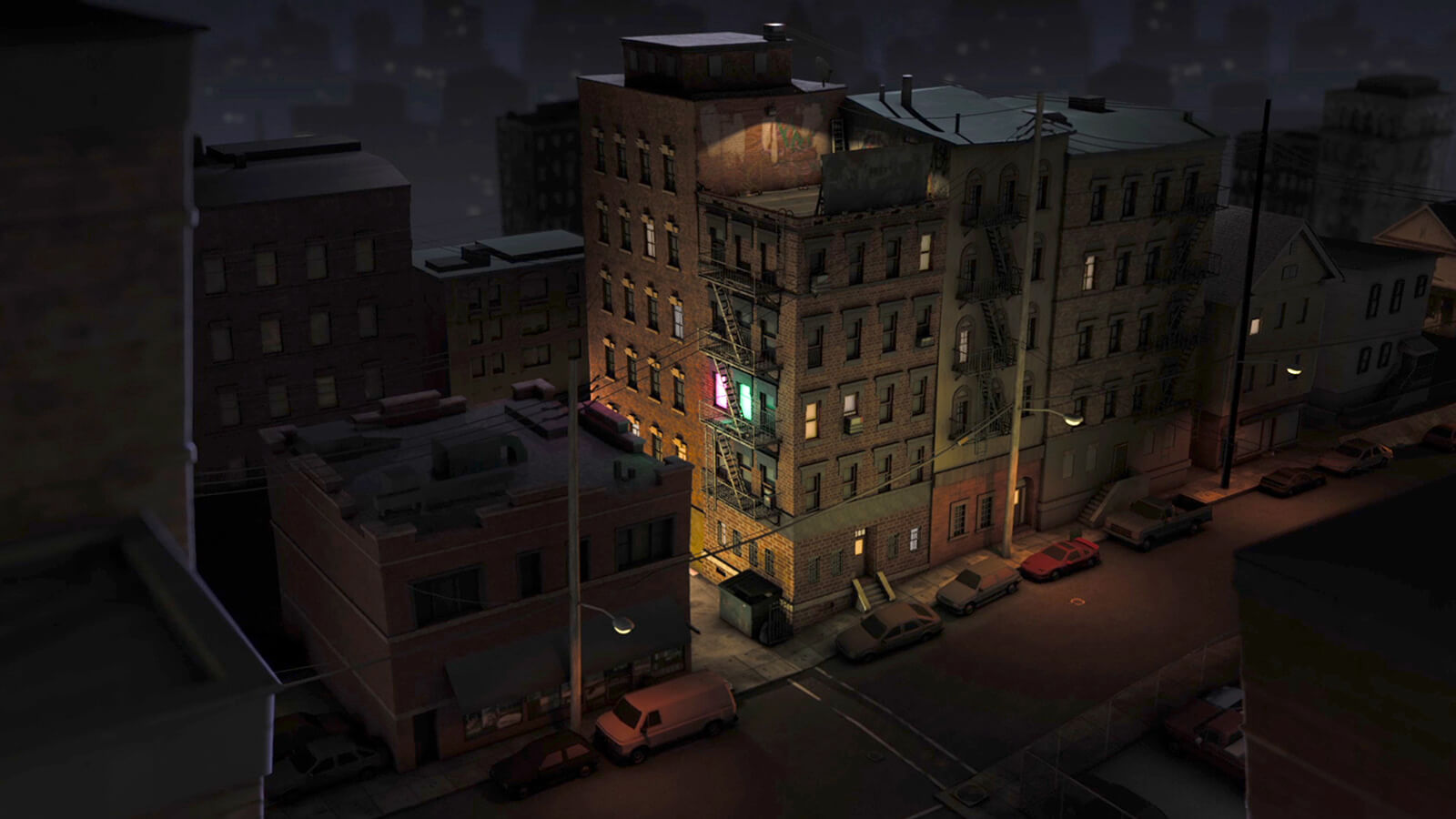 A brick apartment building in a darkened urban area at night. Two neighboring windows are aglow, one pink, one green.