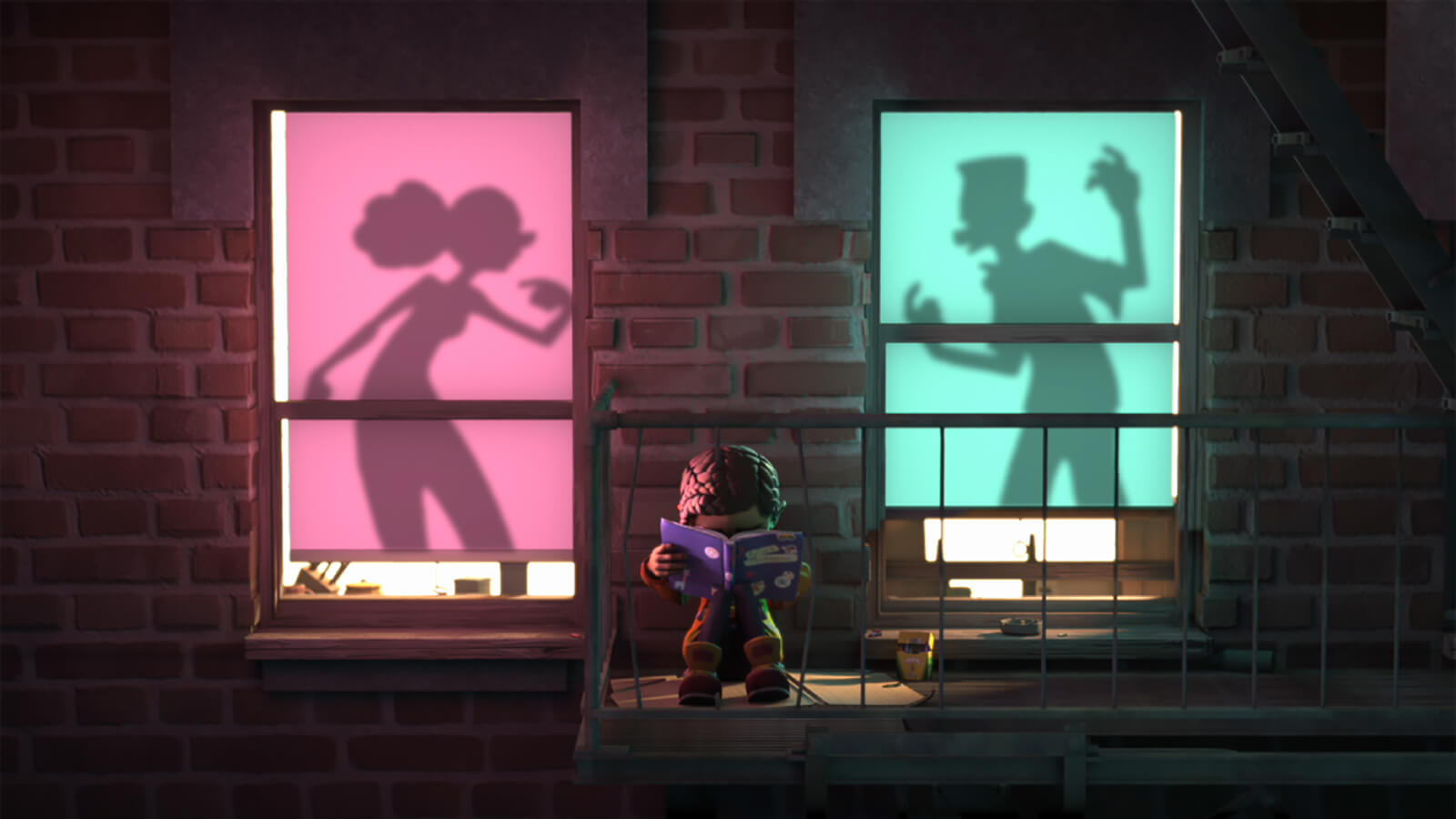 A young girl sits on an apartment fire escape, her head buried in a book, as the silhouettes of two people argue behind her