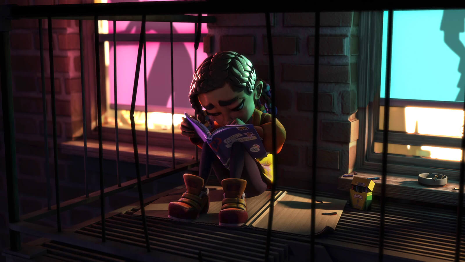 Closeup of a young girl sadly sitting on a fire escape, coloring in a book, and lit from the apartment behind her