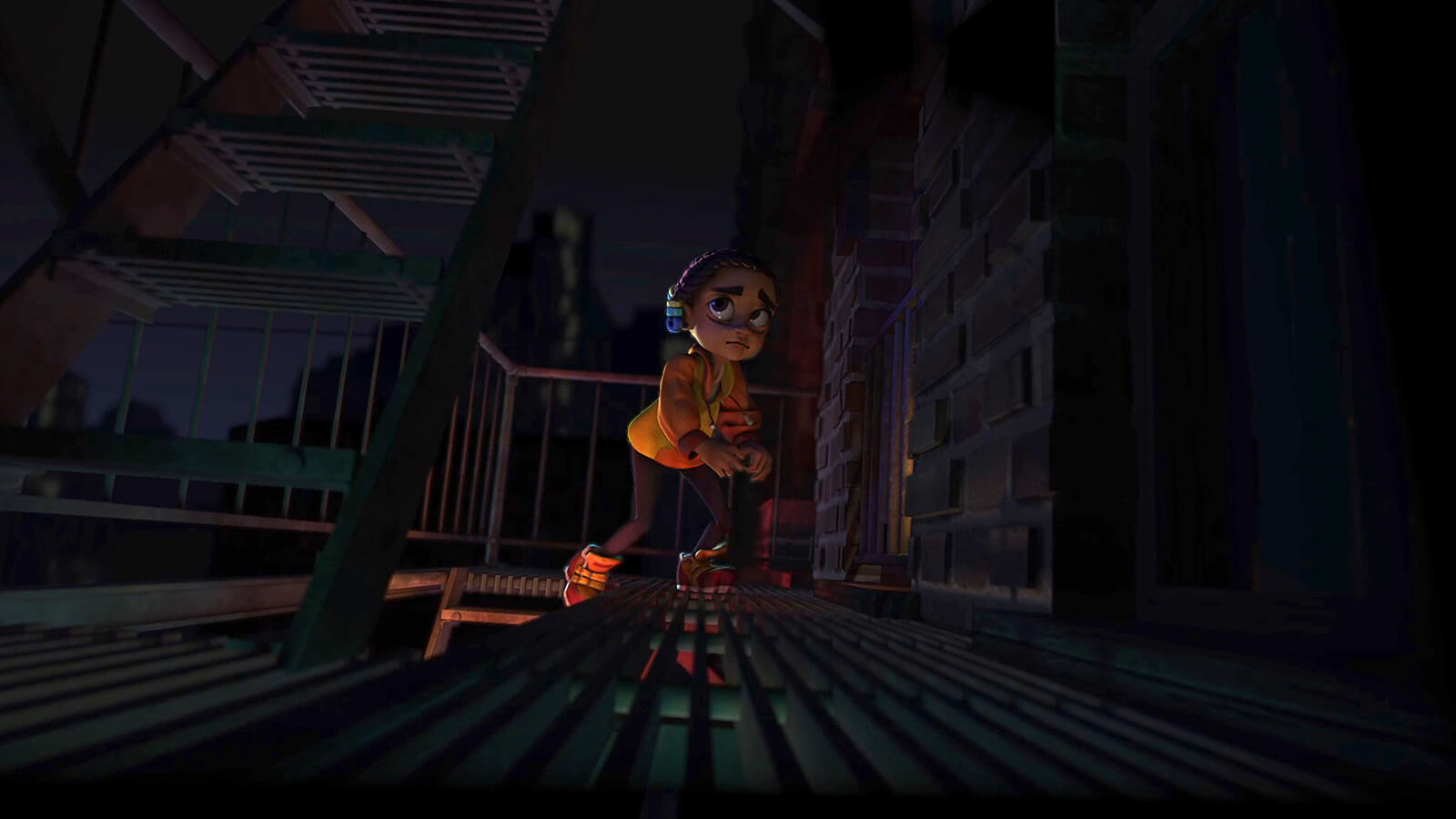 A young girl cautiously makes her way up a fire escape of an apartment building at night, lit dimly from below