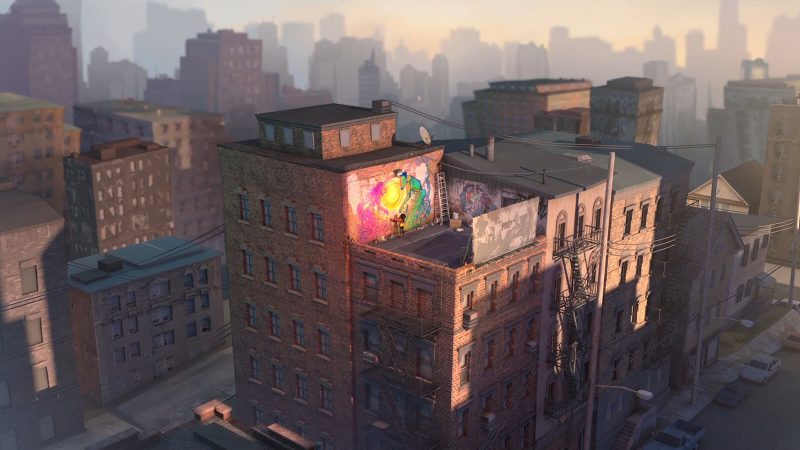 A brick apartment at dawn in an urban area. A girl is seen on the room standing in front of a colorful spray-painted artwork.