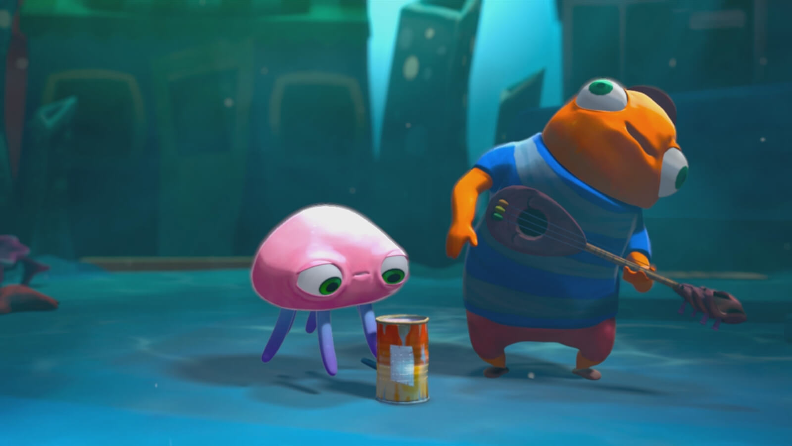 A small pink jellyfish looks at an open tin can in front of an orange fish holding a guitar-like instrument