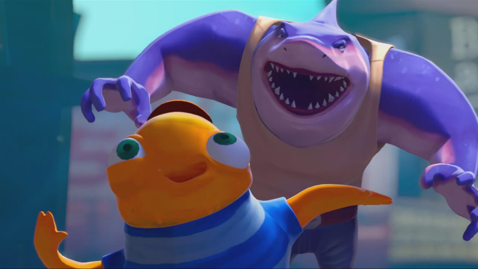 A purple shark in jeans bares his teeth coming up behind a small orange fish in a blue-striped t-shirt