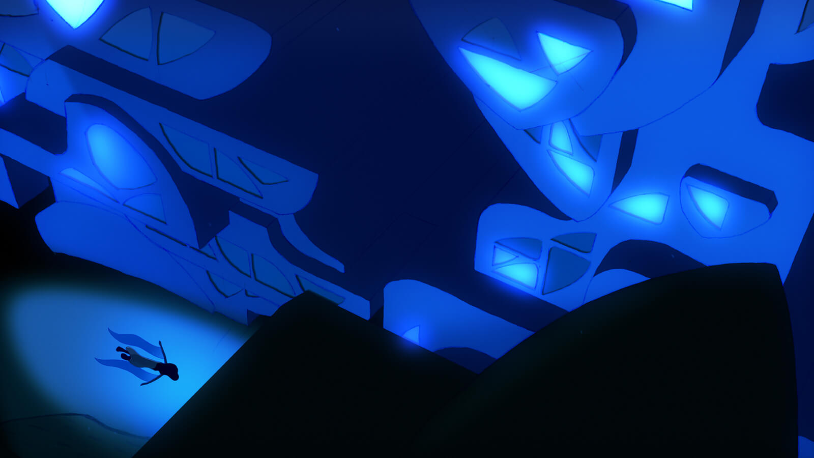 A human figure is seen swimming underwater through a canyon of dark blue shapes, some displaying glowing panels of light