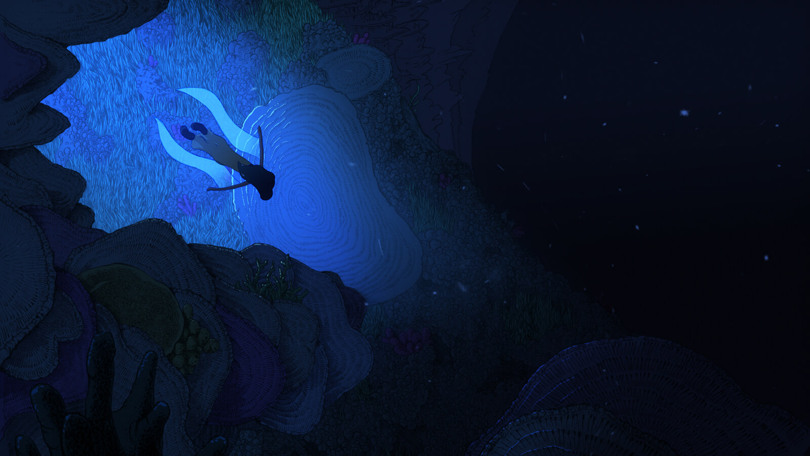 A girl swims underwater deep into a dark area surrounded by faintly visible corals and seaweed