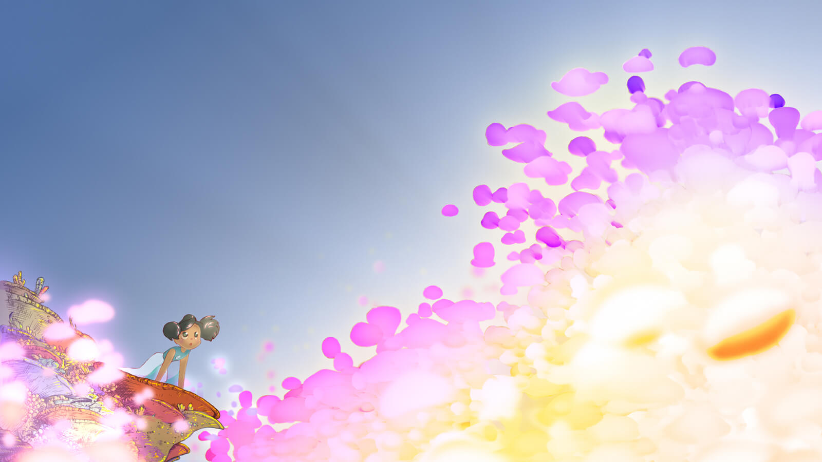 A kneeling girl with black hair stares in awe at a brilliant flash of pink and white light coming from the foreground