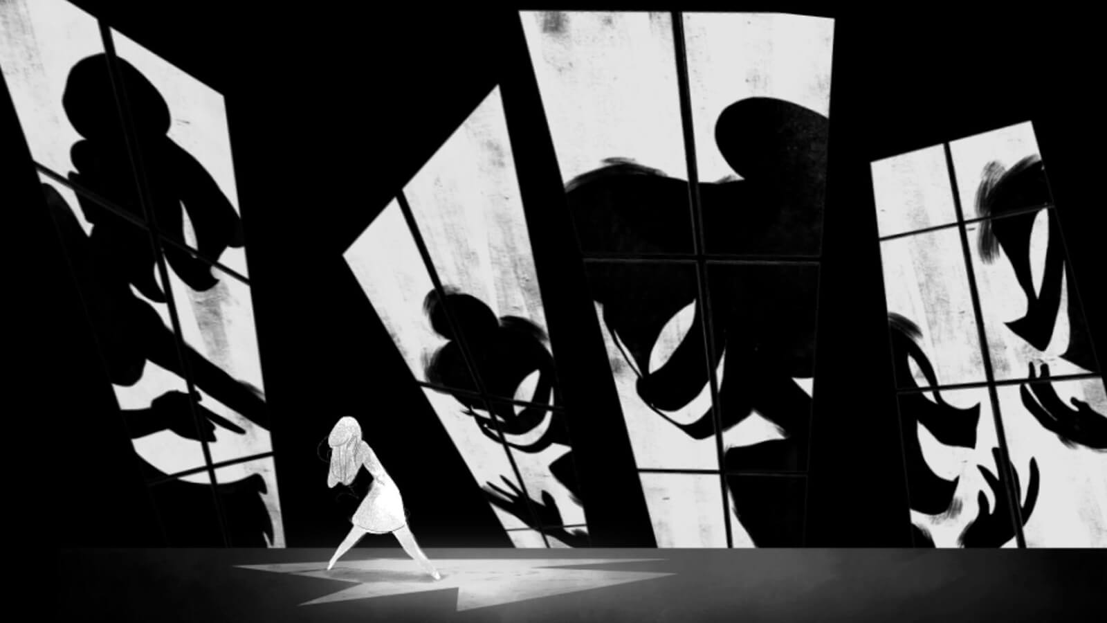 Shadows of judgmental, scowling figures superimposed over large deformed windows surround the colorless form of a cowering young woman.