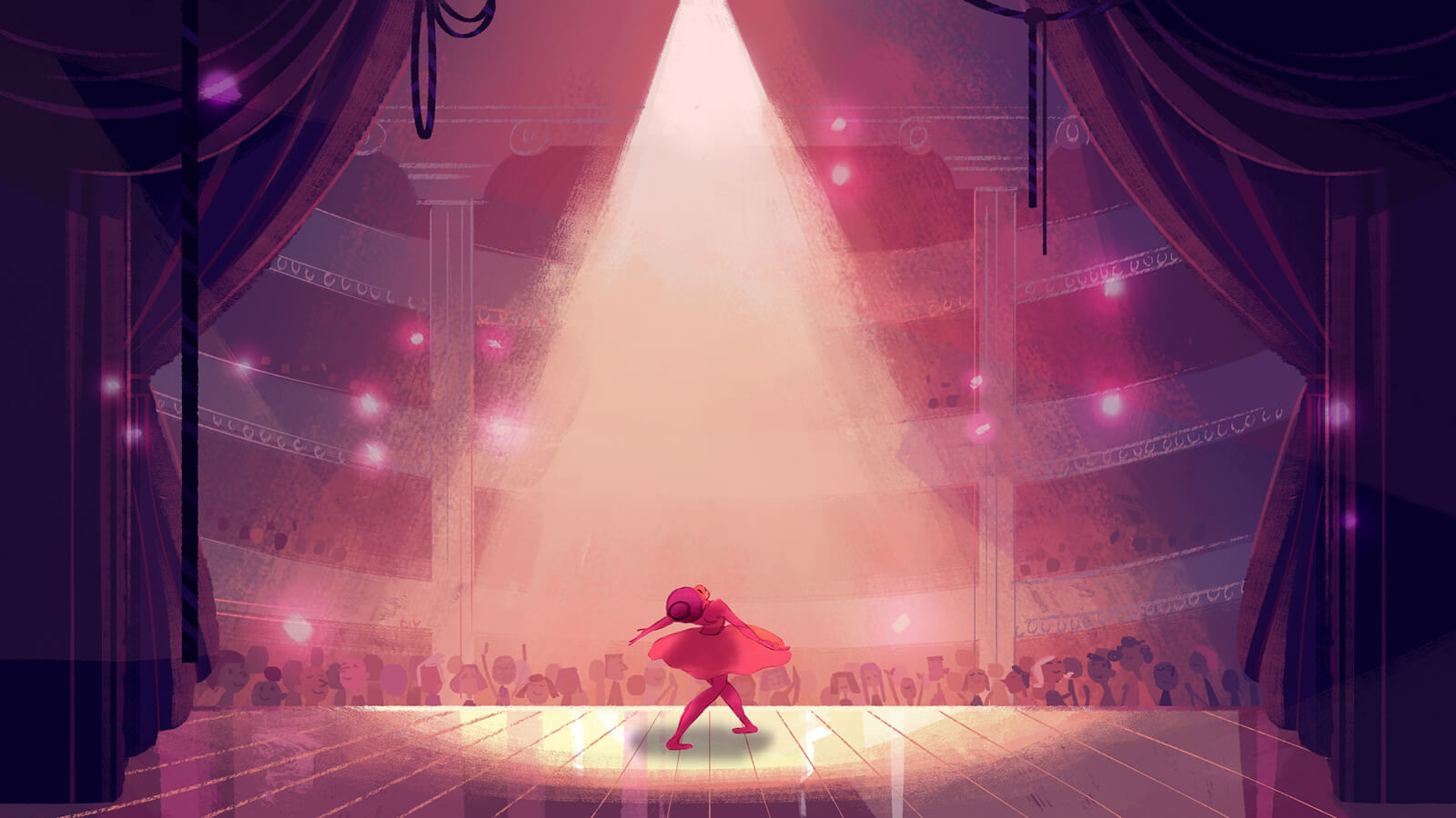 A ballerina, bathed in pink stage light, dances in front of a packed audience in a large, ornate theater.