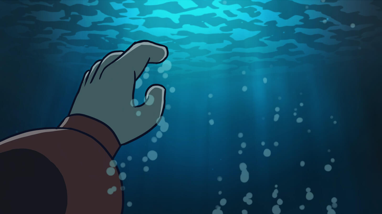 A hand submerged in the ocean reaching up for the surface.