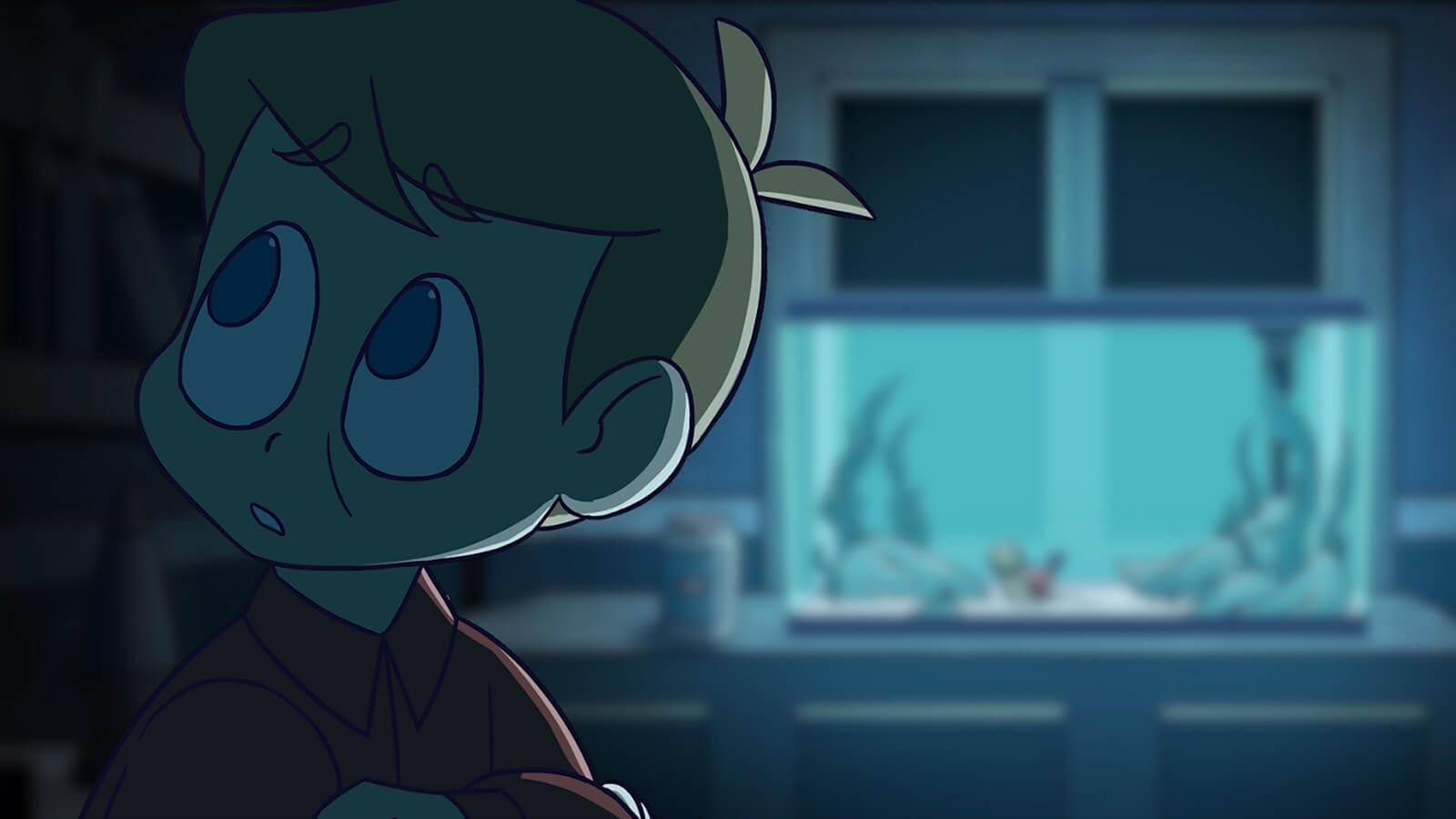 A boy in a darkened room lit by a fish tank.