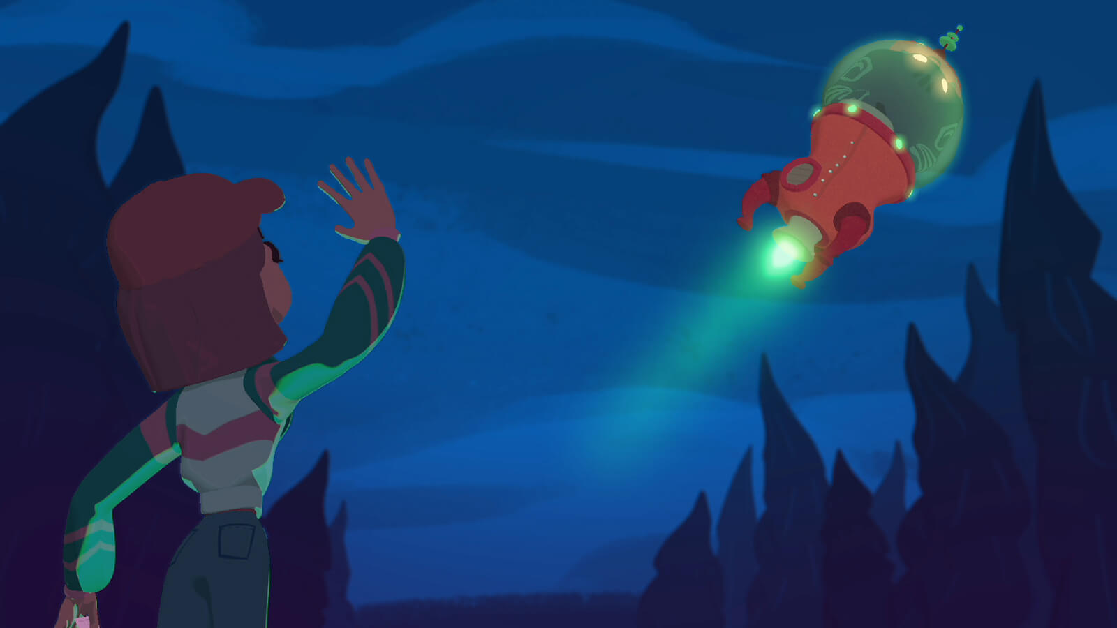A young girl waves at a red rocket ship as it blasts off into the night sky.