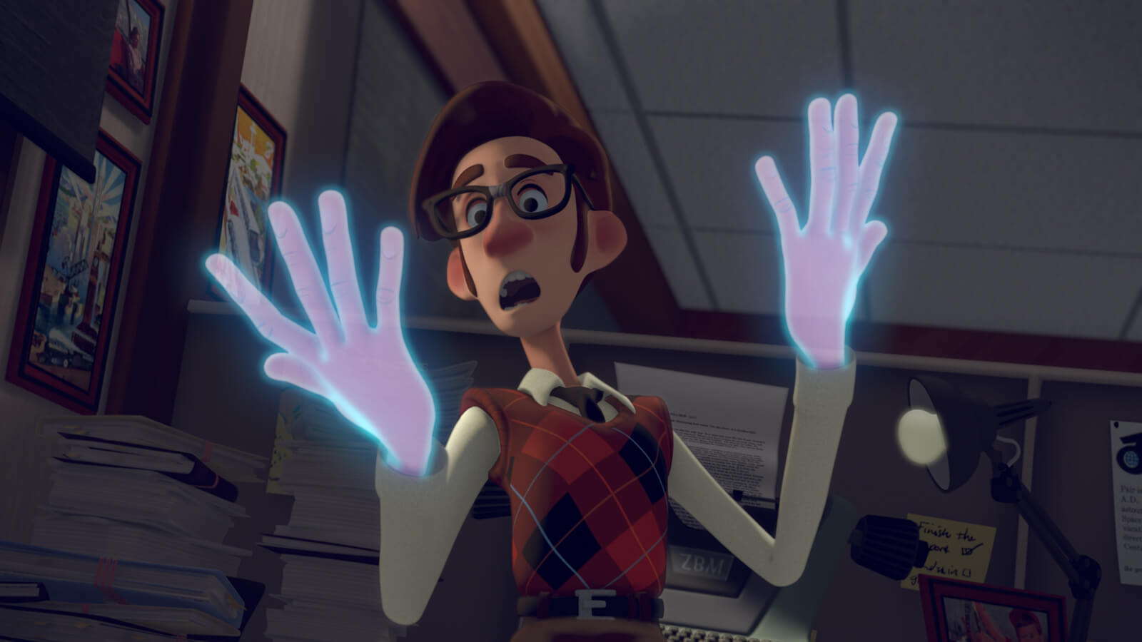 A man in glasses and a red argyle sweater looks in horror at his hands, which are translucent and glowing blue.
